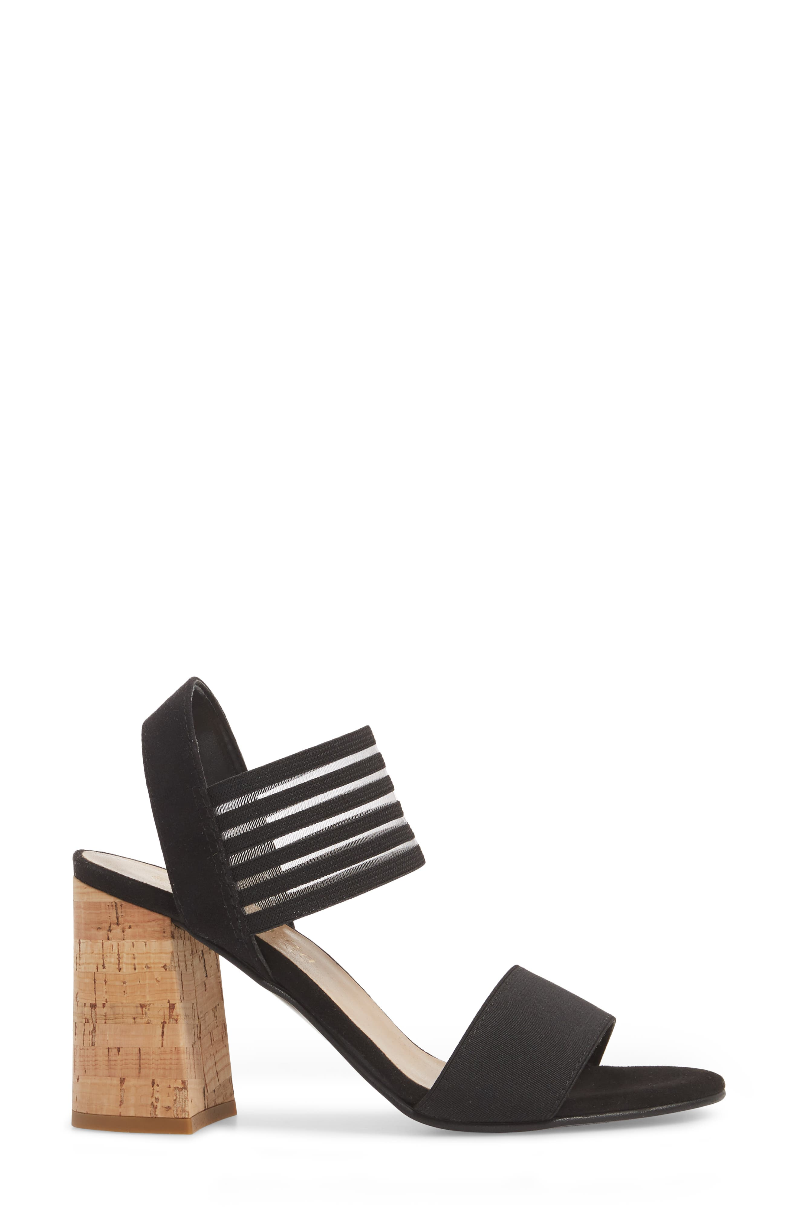 Dan Block Heel Sandal,                             Alternate thumbnail 3, color,                             Black Leather
