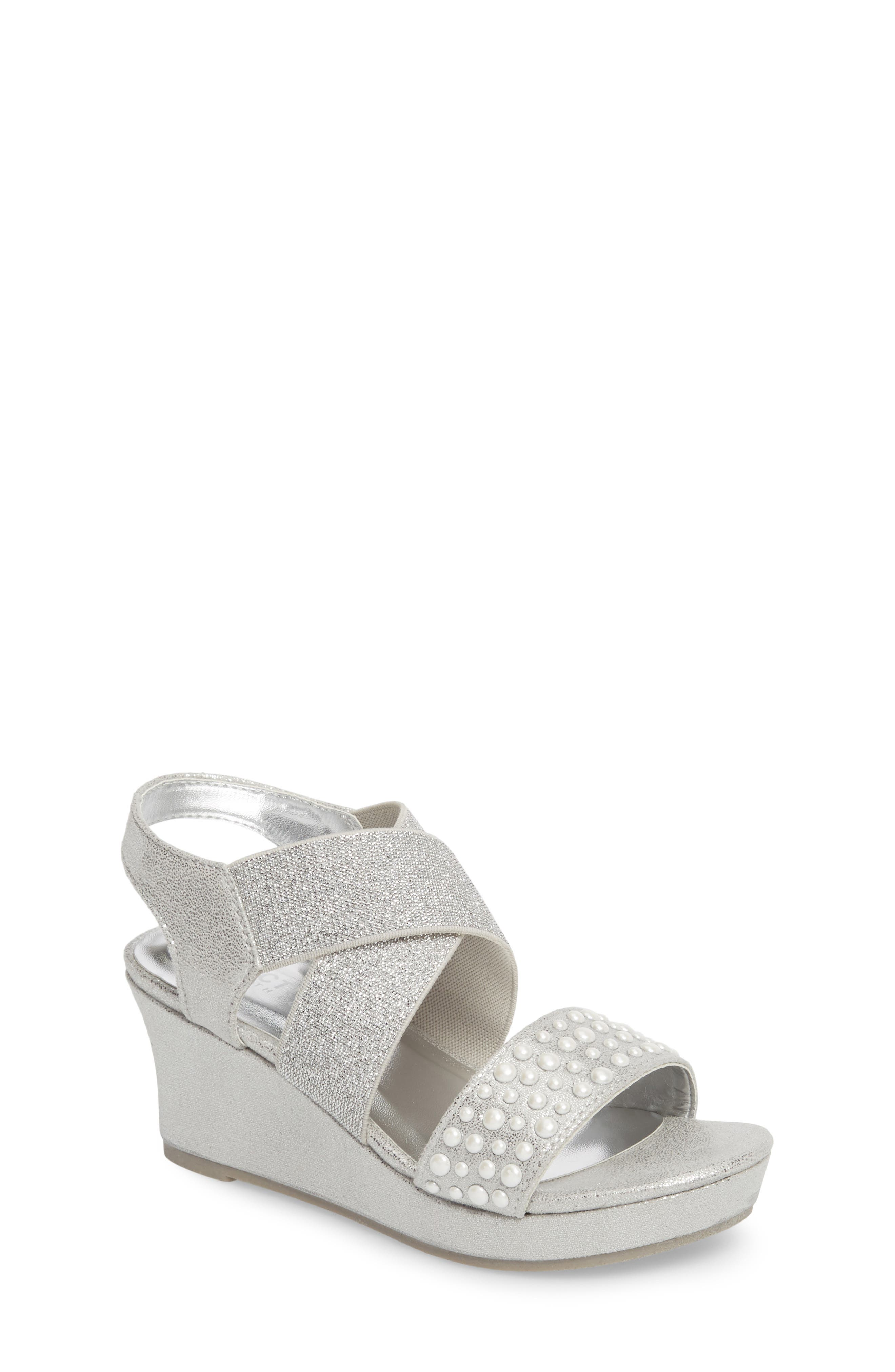 Reed Glimmer Wedge Sandal,                             Main thumbnail 1, color,                             Silver
