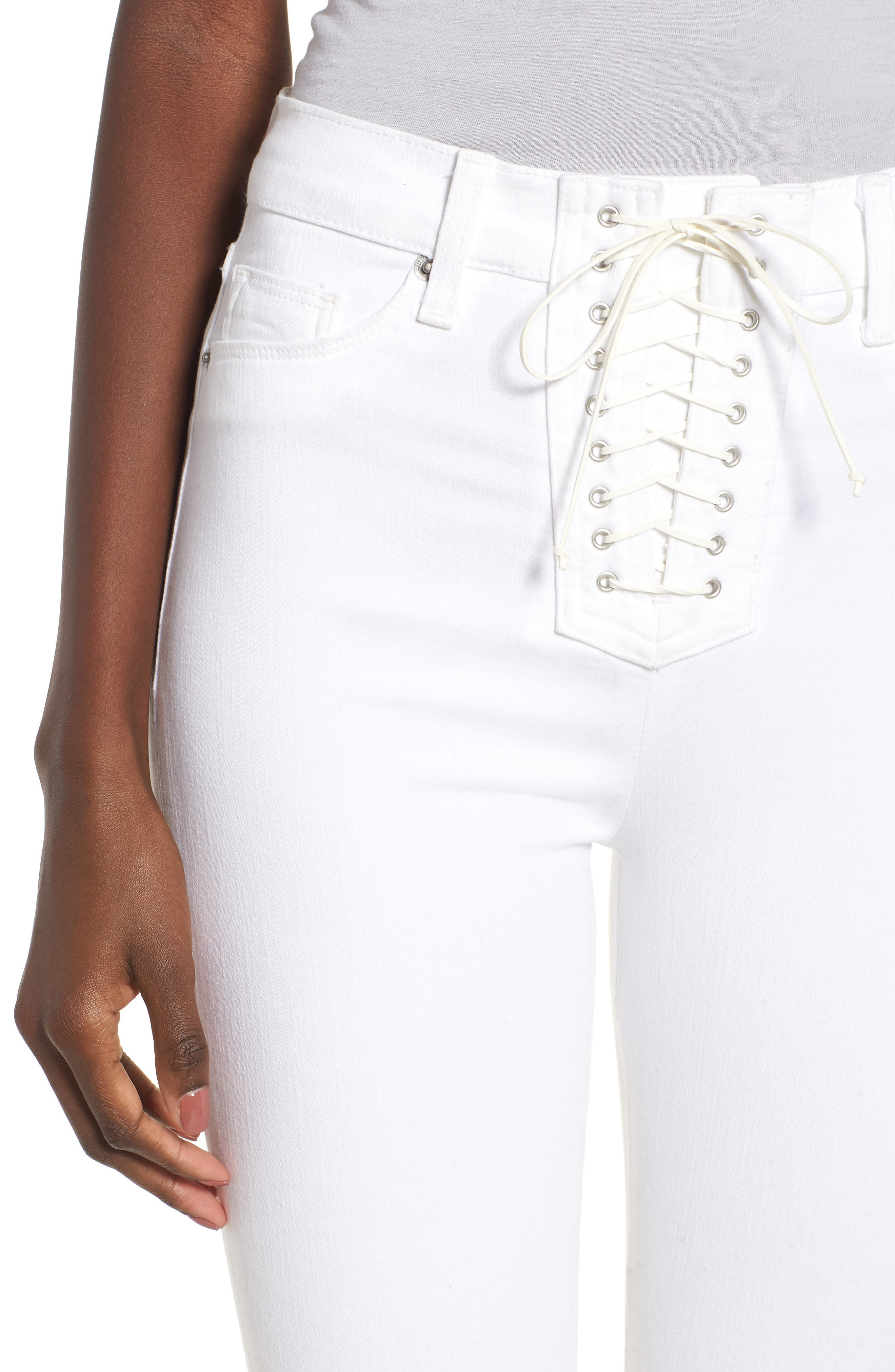Bullocks Lace-Up High Waist Super Skinny Jeans,                             Alternate thumbnail 4, color,                             Optical White