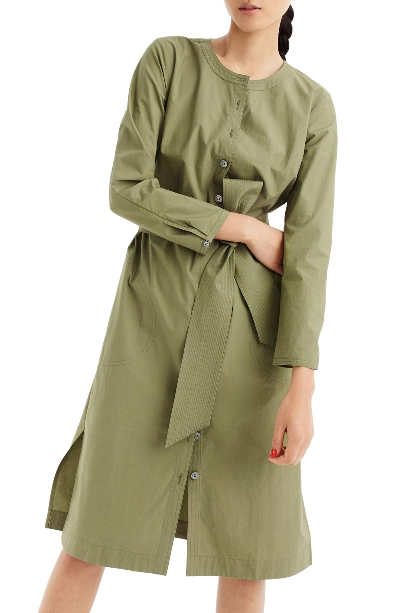 Collarless Cotton Shirtdress,                             Main thumbnail 1, color,                             Faded Grove