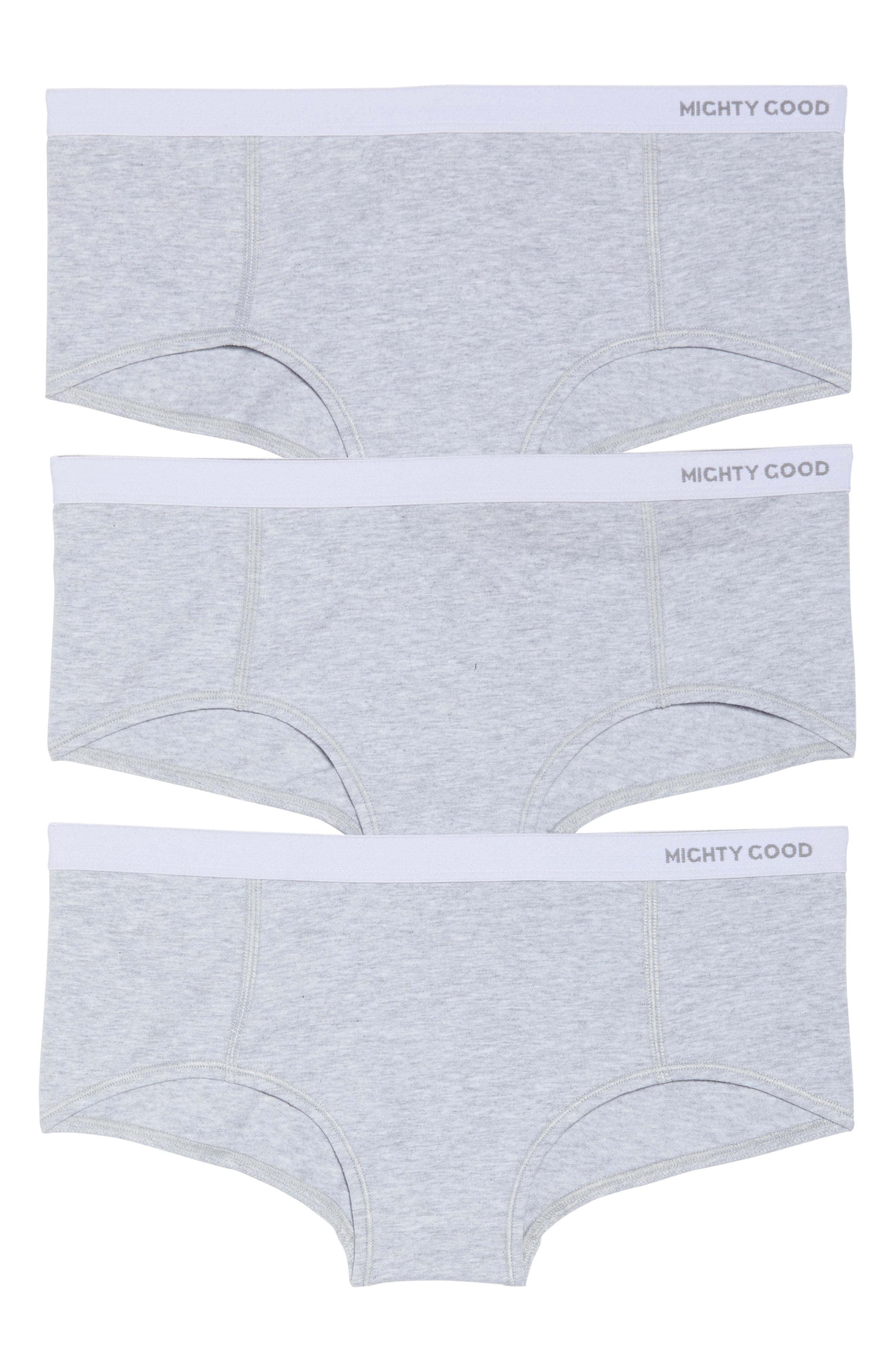 3-Pack Stretch Organic Cotton Boyshorts,                             Alternate thumbnail 2, color,                             Grey Marle