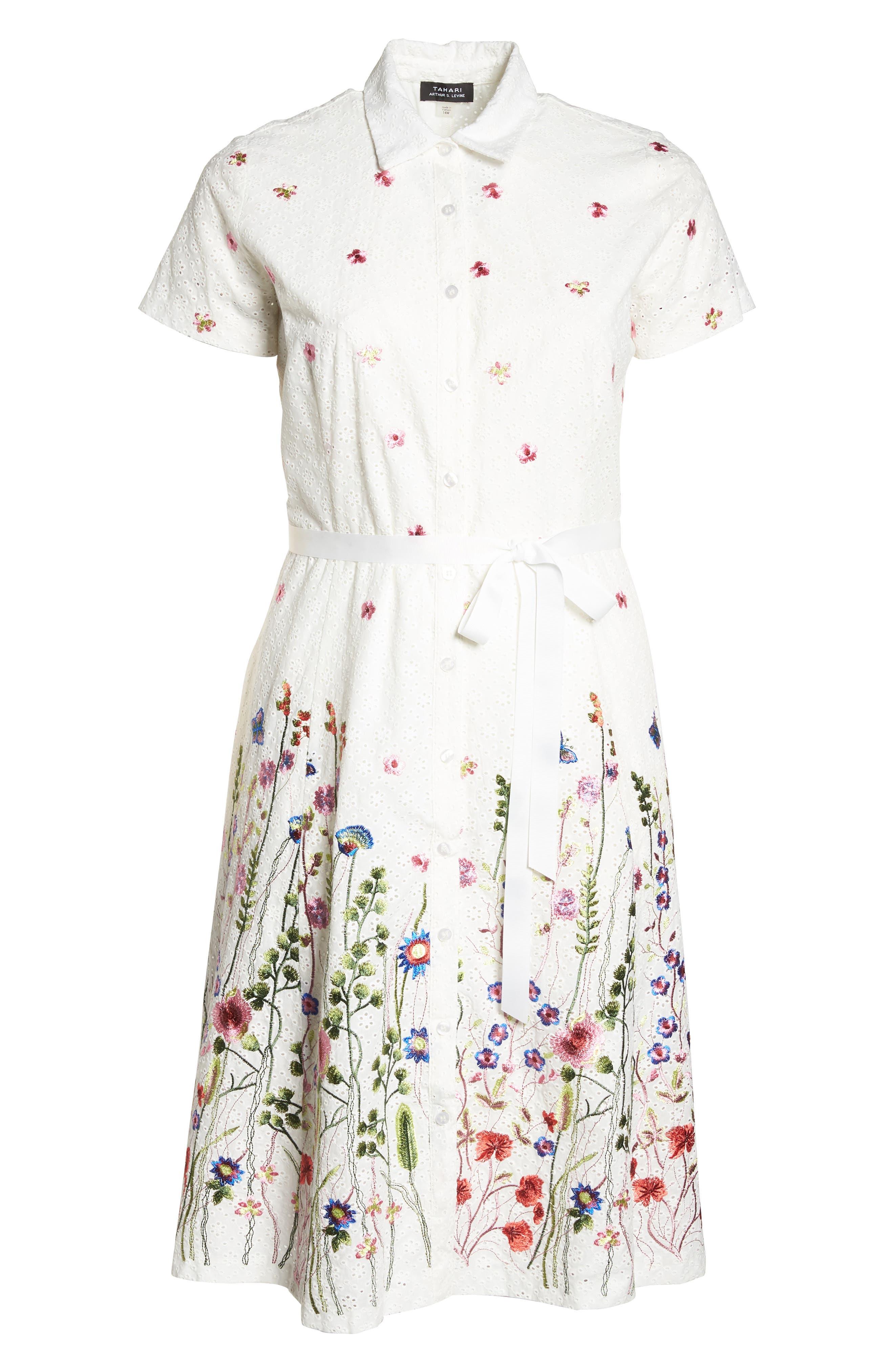 Floral Embroidered Eyelet Shirtdress,                             Alternate thumbnail 6, color,                             White/ Royal/ Green
