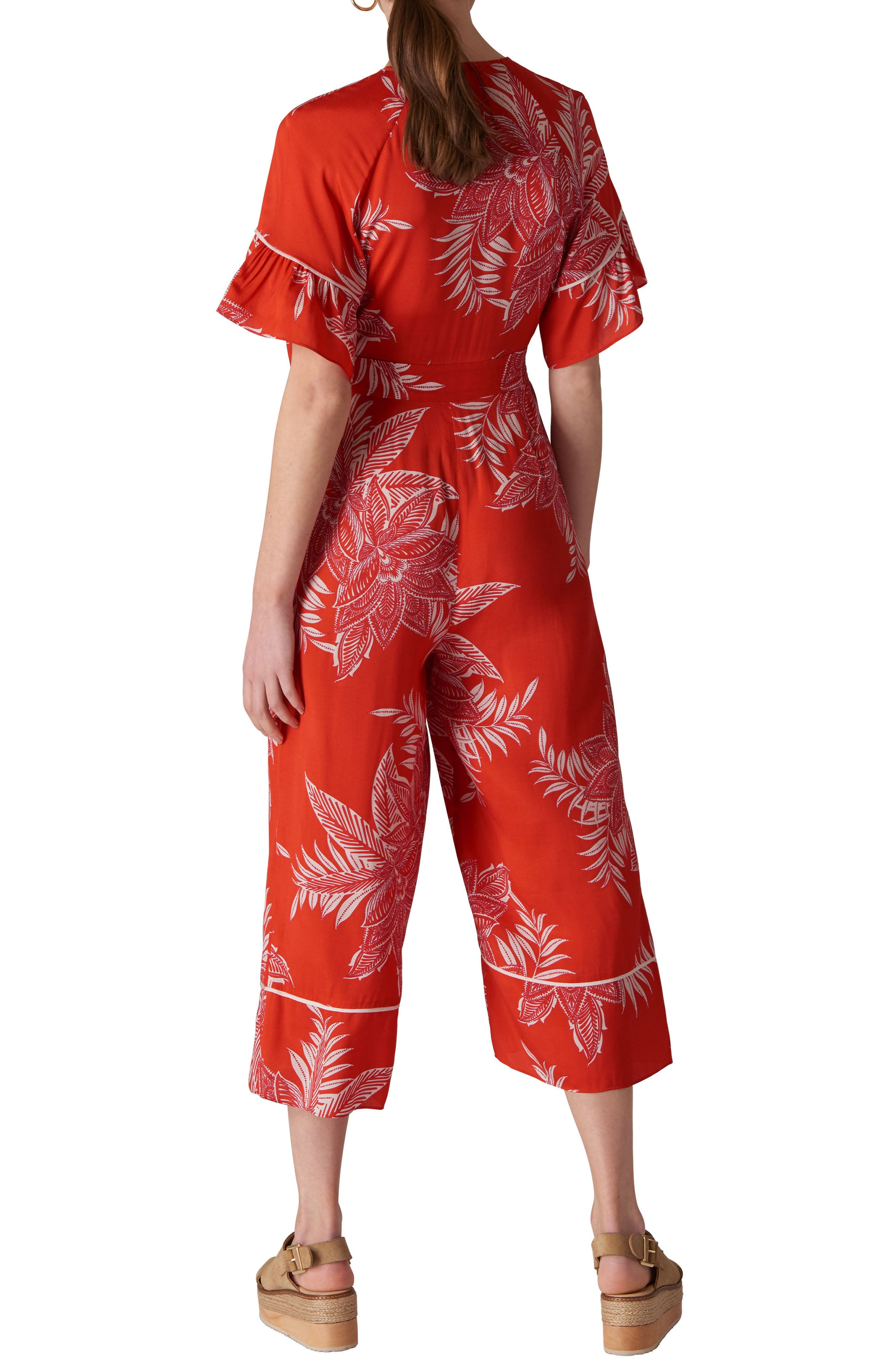 Kamma Palmyra Print Jumpsuit,                             Alternate thumbnail 2, color,                             Red/ Multi