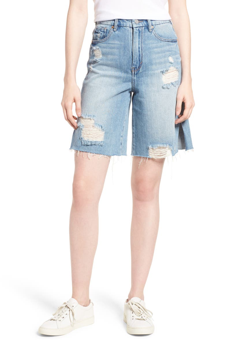 Wylie High Rise Distressed Bermuda Denim Shorts