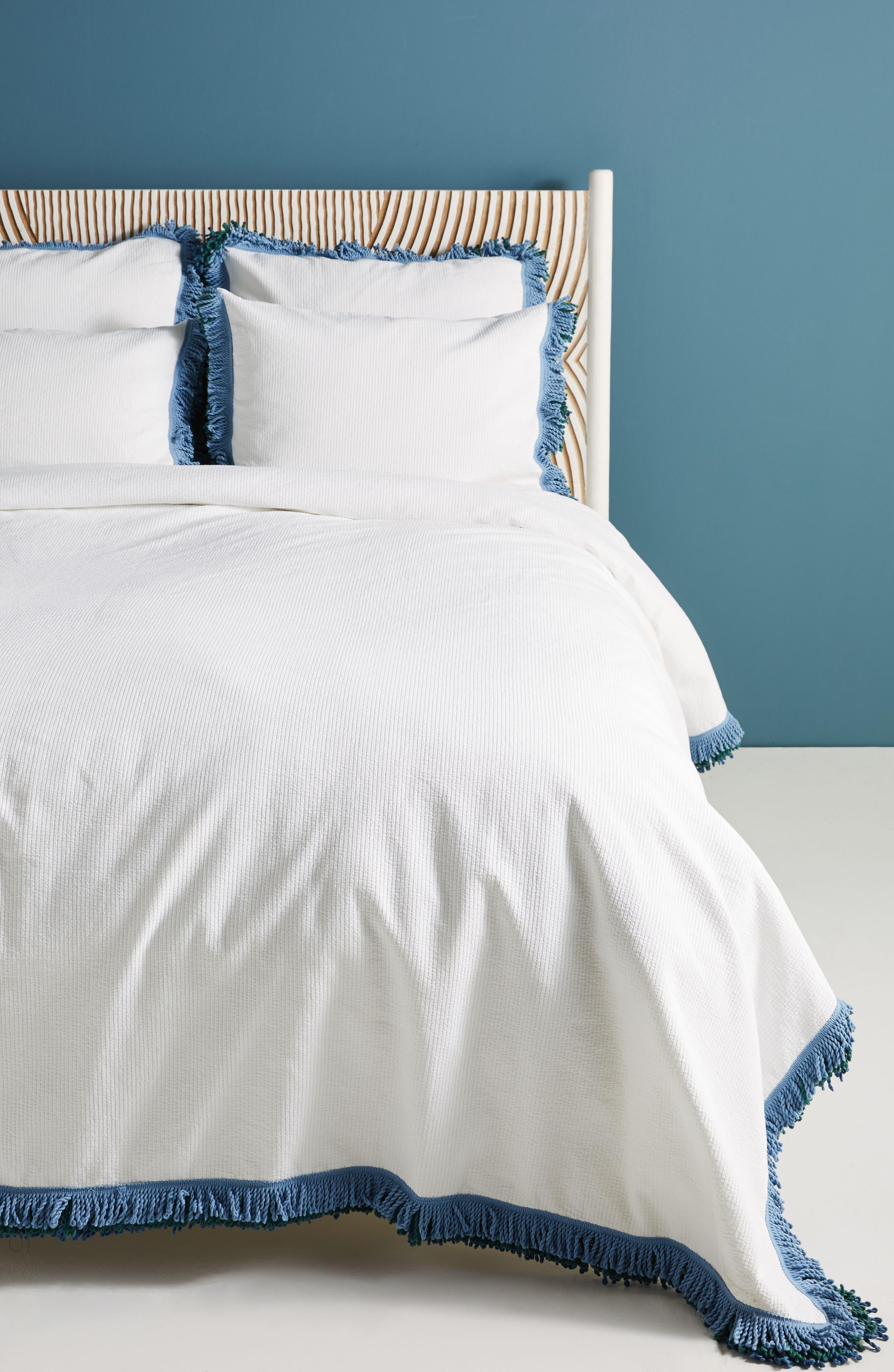 Layered Fringe Duvet Cover,                         Main,                         color, White