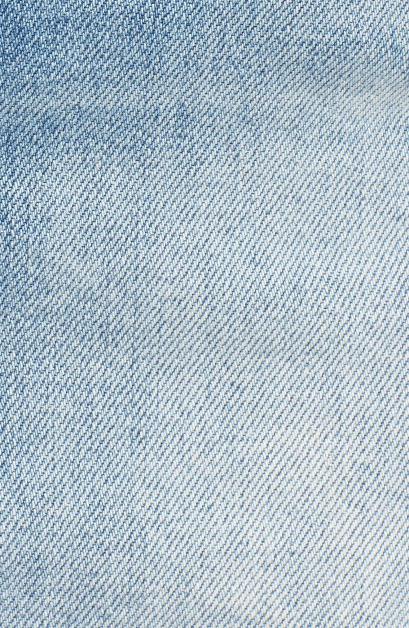 High Waist Fray Straight Denim Miniskirt,                             Alternate thumbnail 6, color,                             Quite Contrary