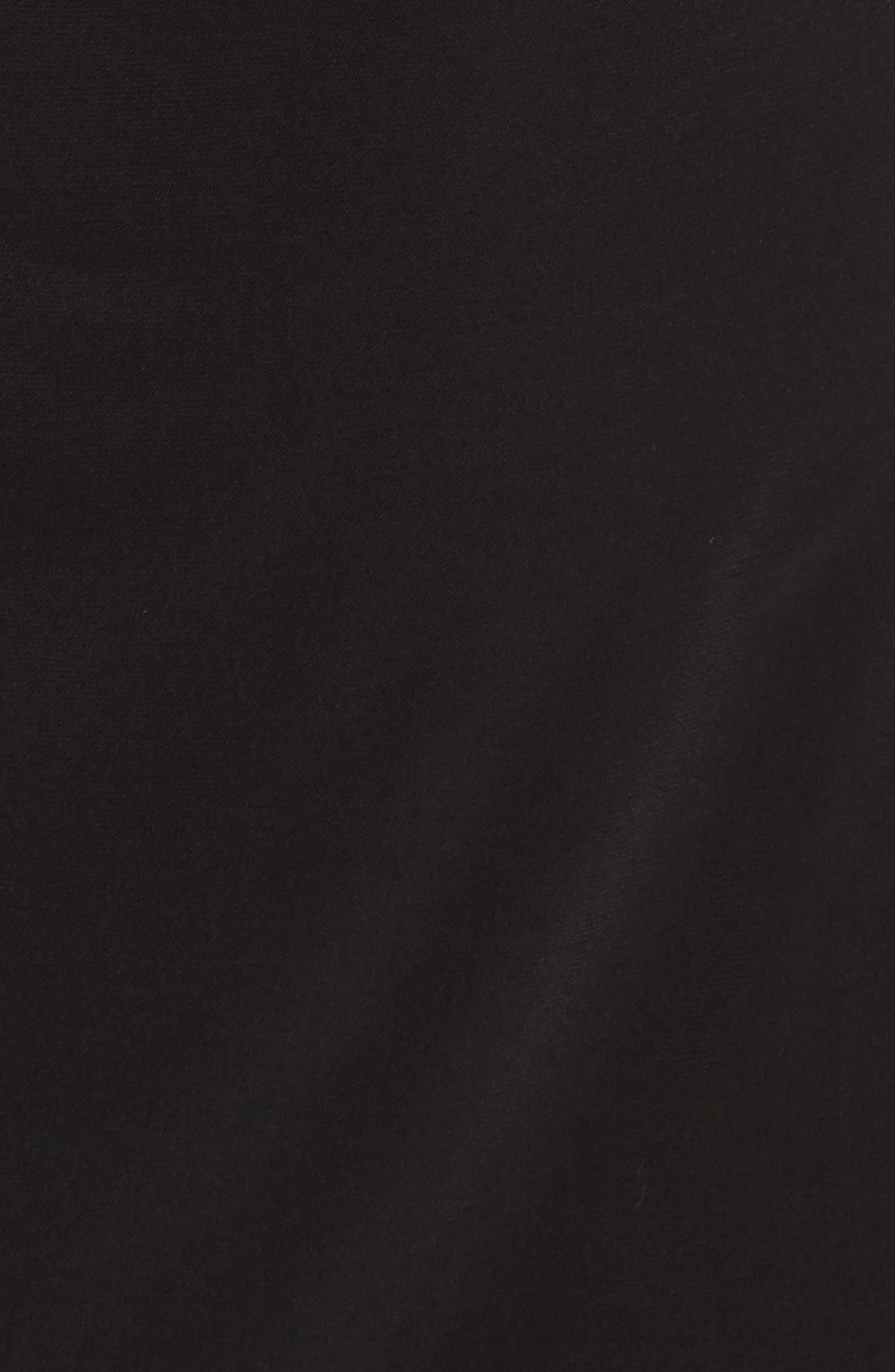 Ruched Side Tie Midi Dress,                             Alternate thumbnail 6, color,                             Black