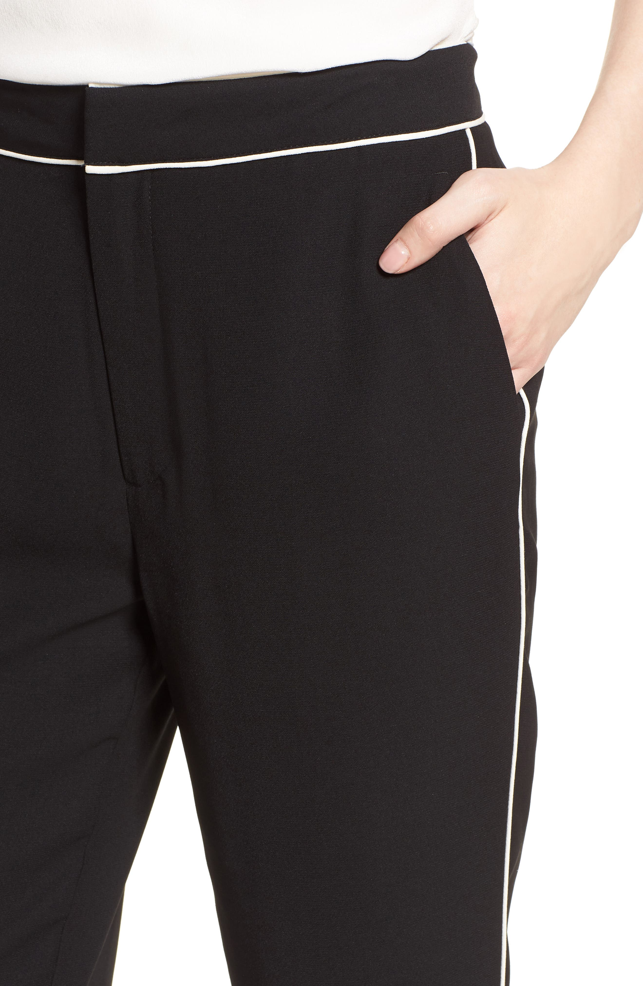 Ankle Pants,                             Alternate thumbnail 4, color,                             Black/ Bright White Piping
