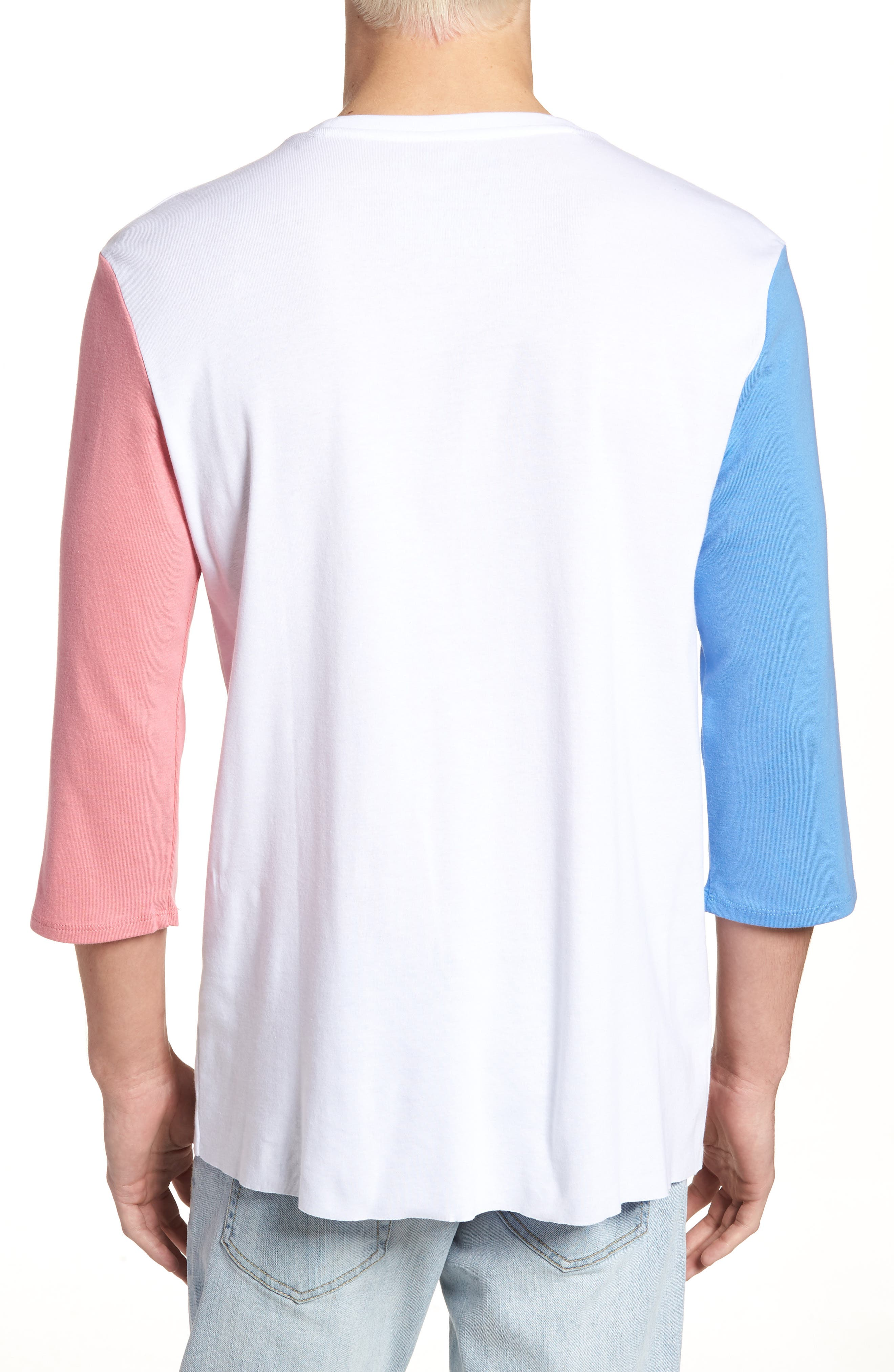 Contrast Sleeve T-Shirt,                             Alternate thumbnail 2, color,                             White/ Pink / Blue