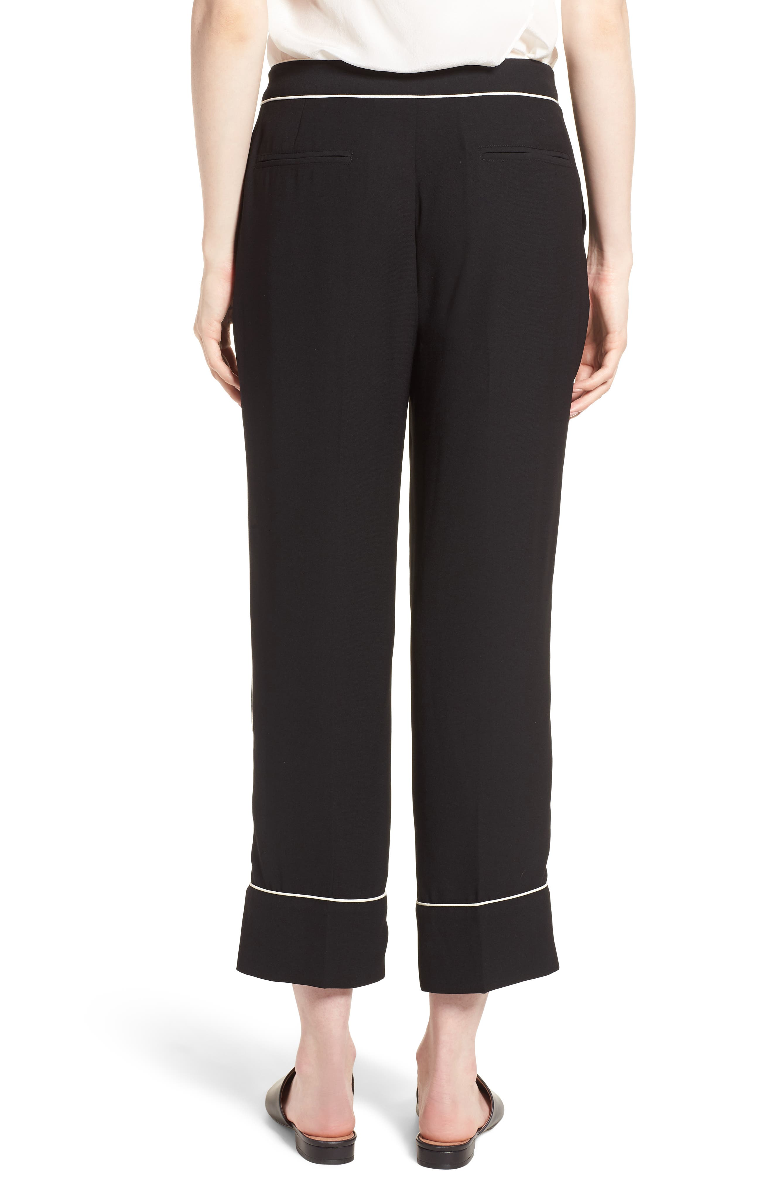 Ankle Pants,                             Alternate thumbnail 2, color,                             Black/ Bright White Piping