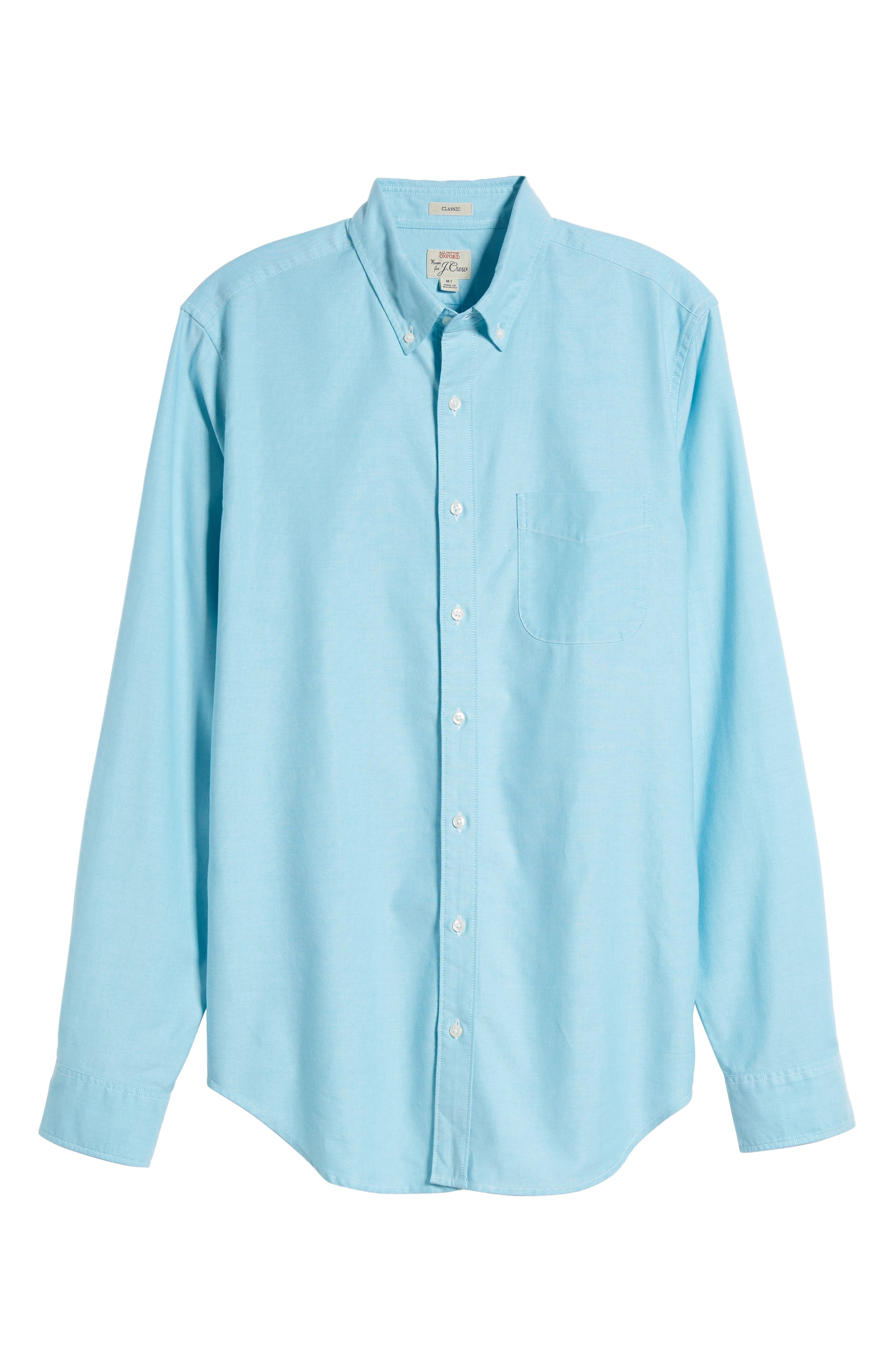 Classic Fit Stretch Pima Cotton Oxford Shirt,                             Main thumbnail 1, color,                             Tropical Blue