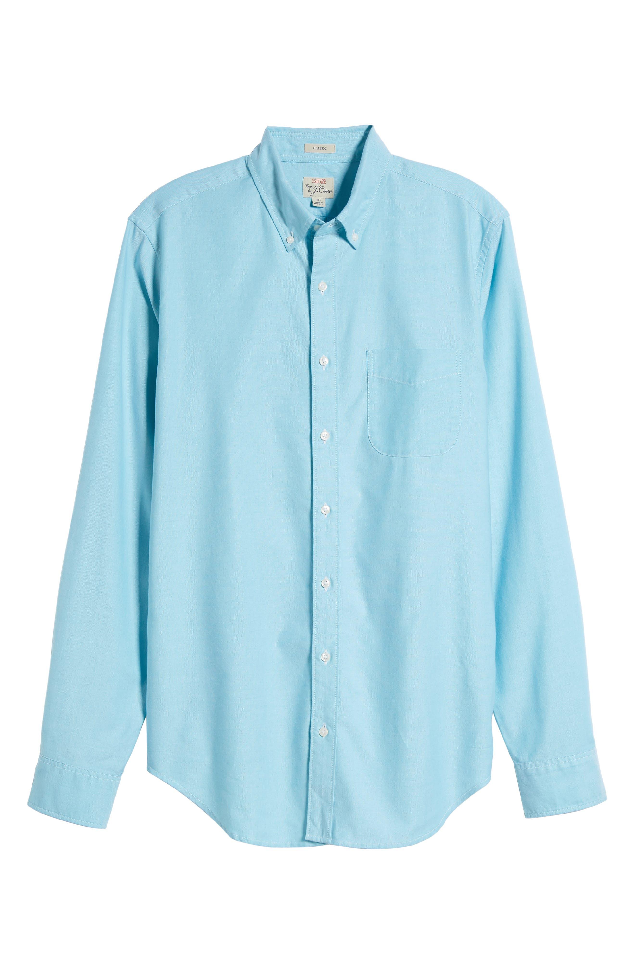 Classic Fit Stretch Pima Cotton Oxford Shirt,                         Main,                         color, Tropical Blue