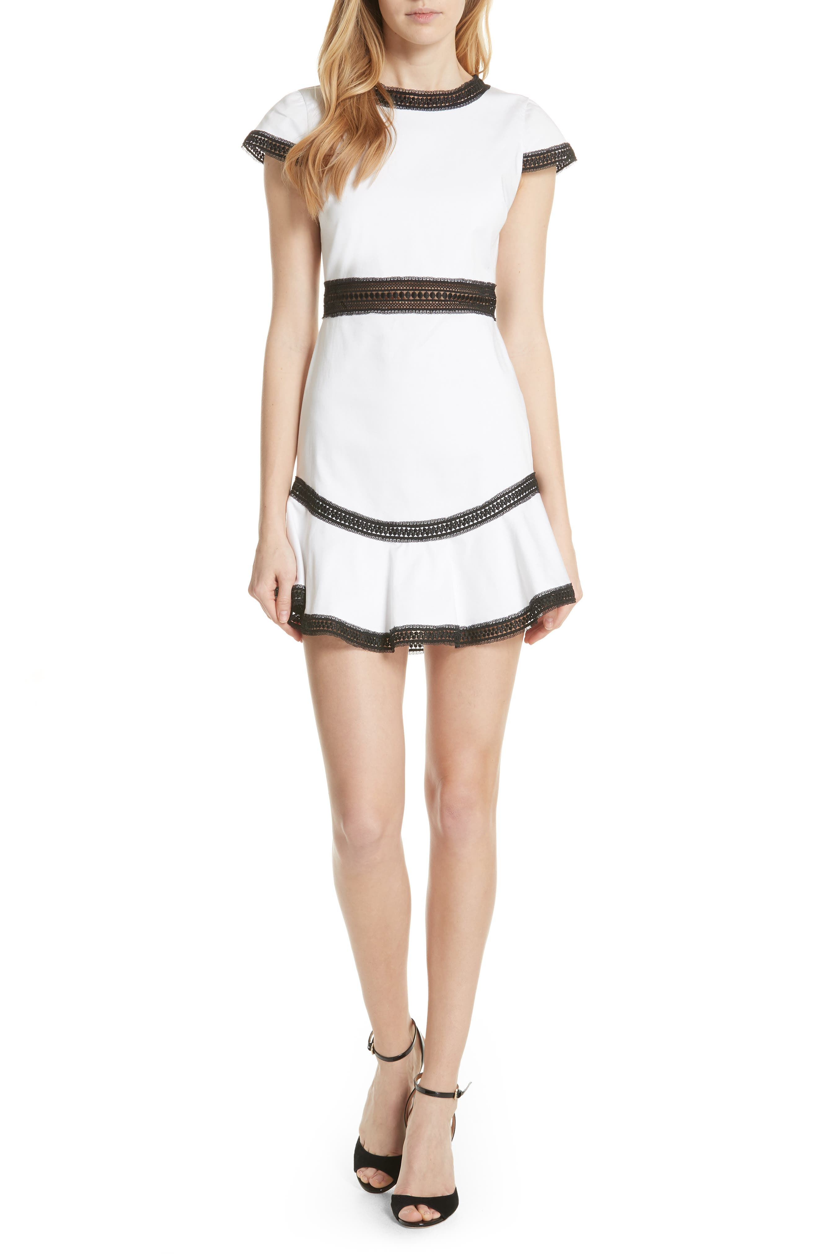 Rapunzel Stretch Cotton Fit & Flare Minidress,                         Main,                         color, White/ Black