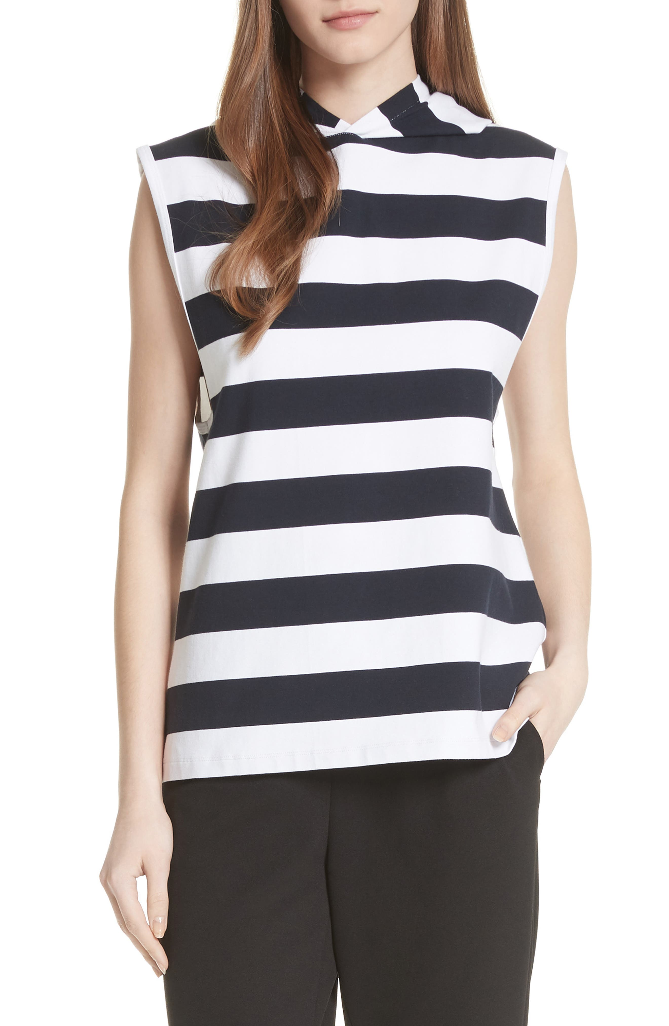 Muscle Stripe Stretch Cotton Tee,                         Main,                         color, Navy/ White Multi