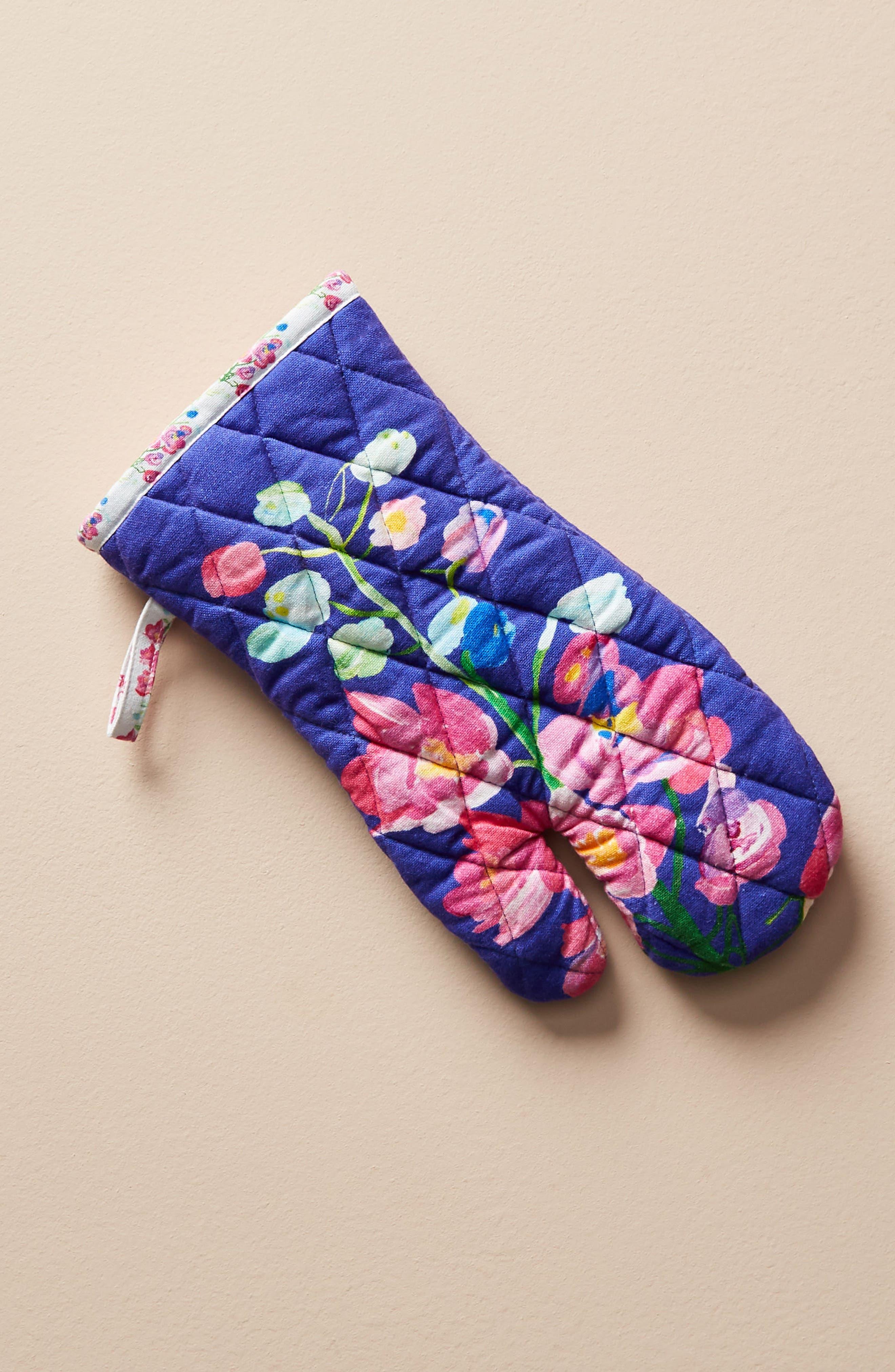 Paint + Petals Oven Mitt,                             Main thumbnail 1, color,                             Blue Combo