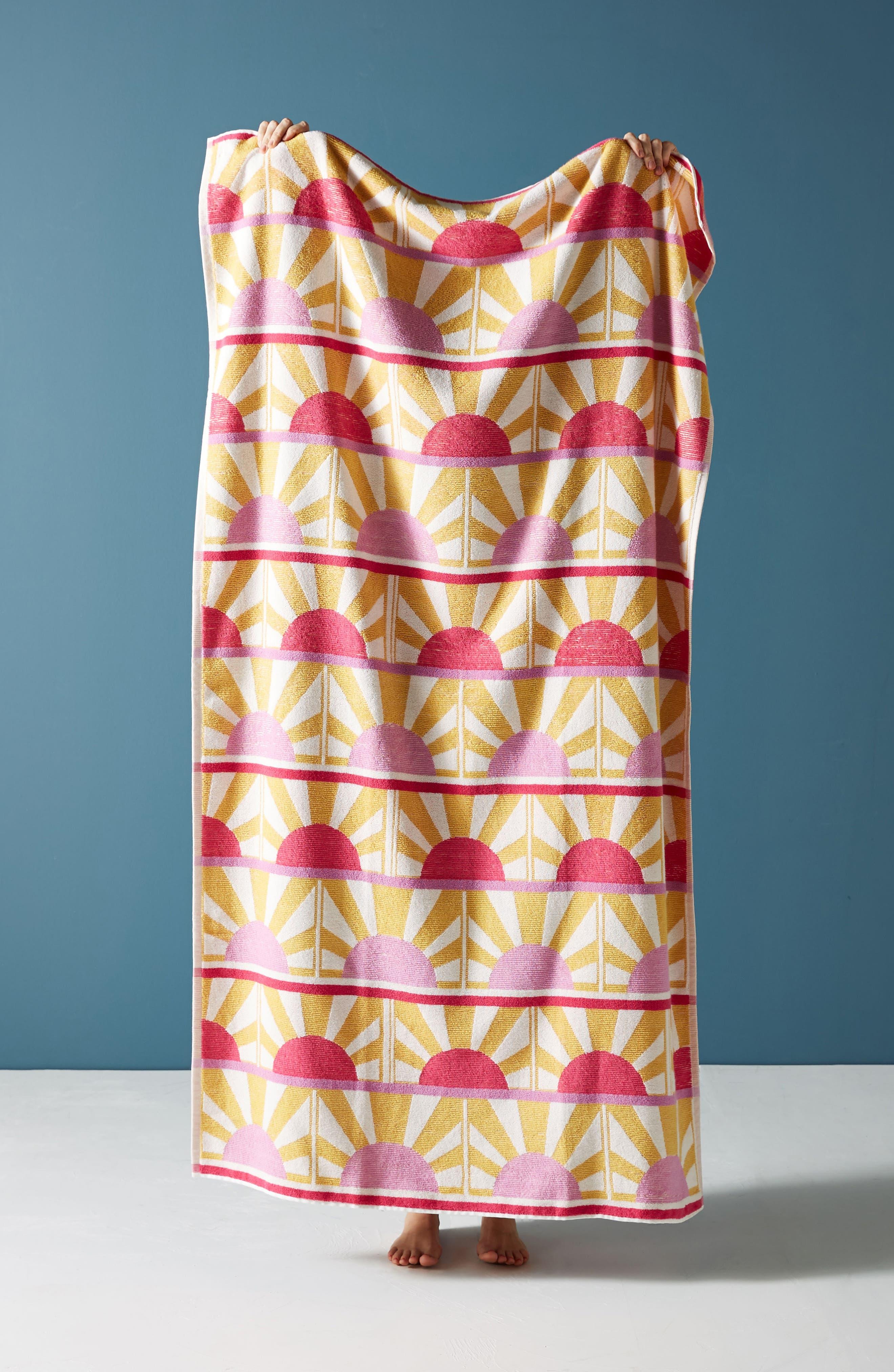 Sun Star Beach Towel,                         Main,                         color, Rose