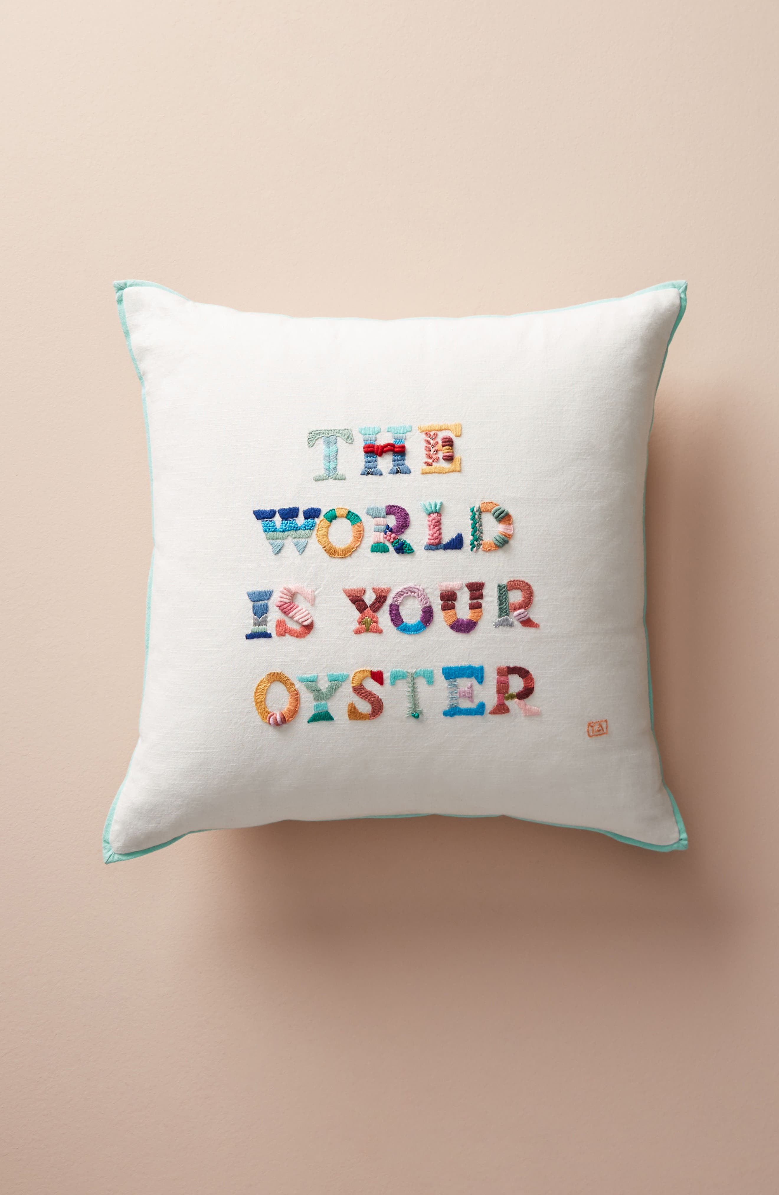 The World Is Your Oyster Accent Pillow,                             Main thumbnail 1, color,                             White Multi
