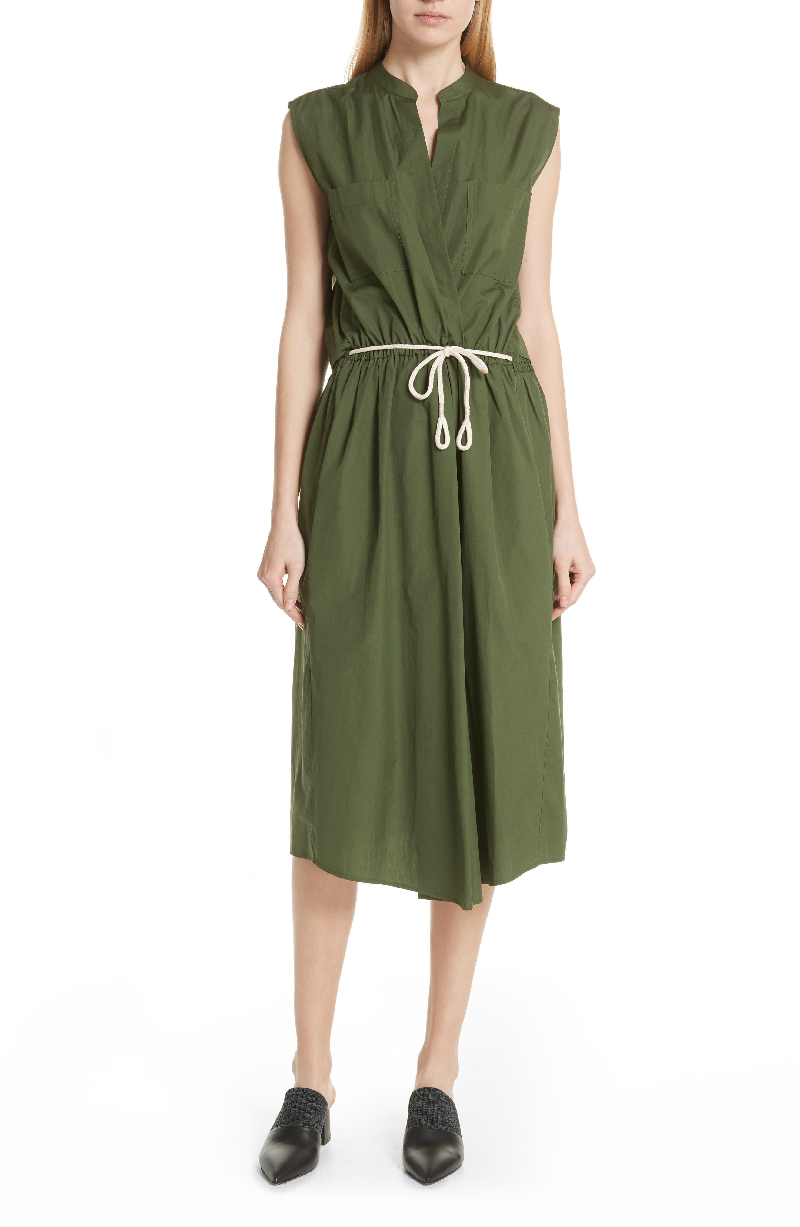 Back Cutout Cotton Utility Dress,                         Main,                         color, Cedar