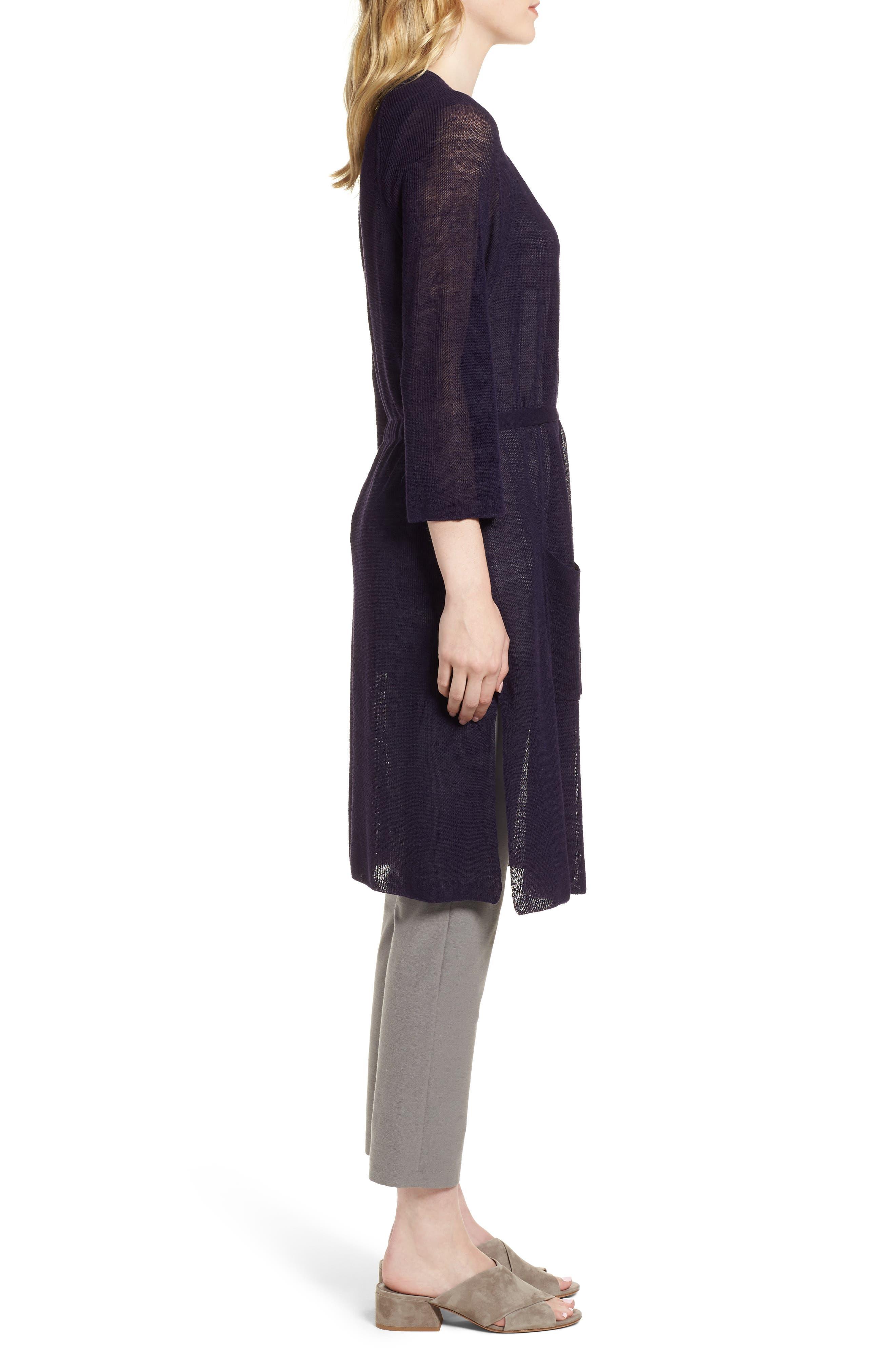 Long Organic Linen Blend Kimono Cardigan,                             Alternate thumbnail 5, color,                             Salt Lake