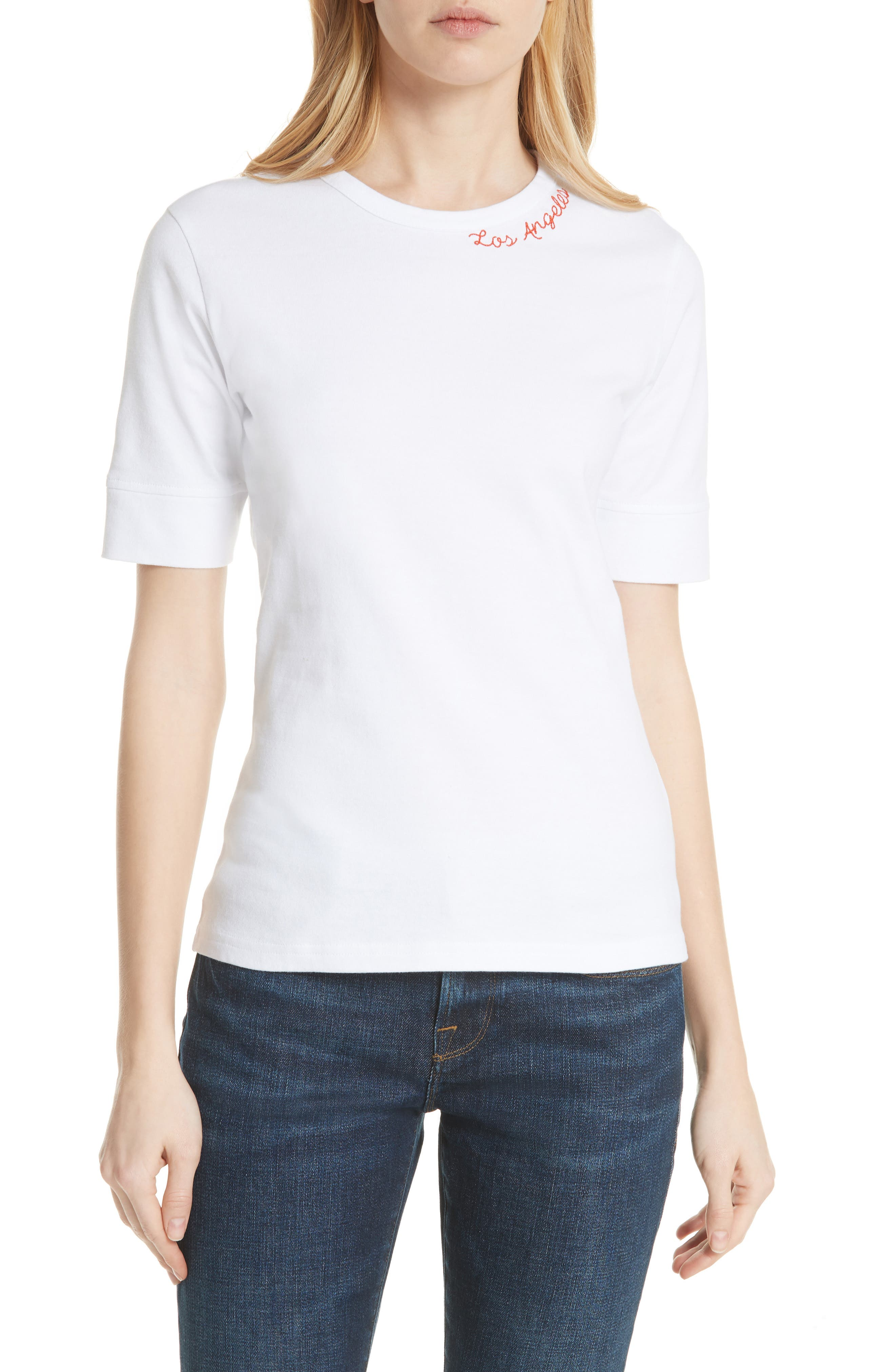 Los Angeles Embroidered True Crew Tee,                             Main thumbnail 1, color,                             Blanc