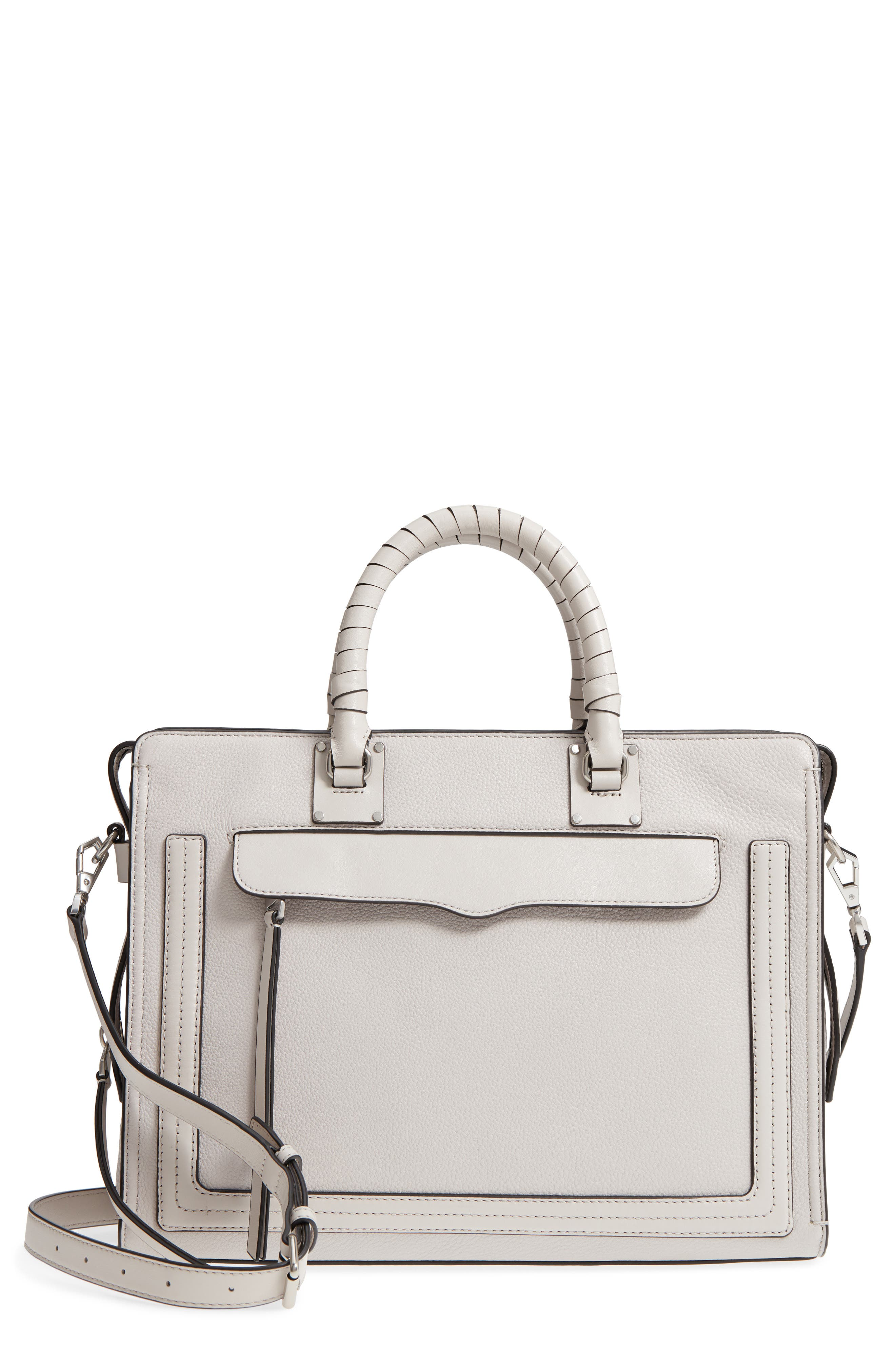 Large Bree Leather Satchel,                         Main,                         color, Putty