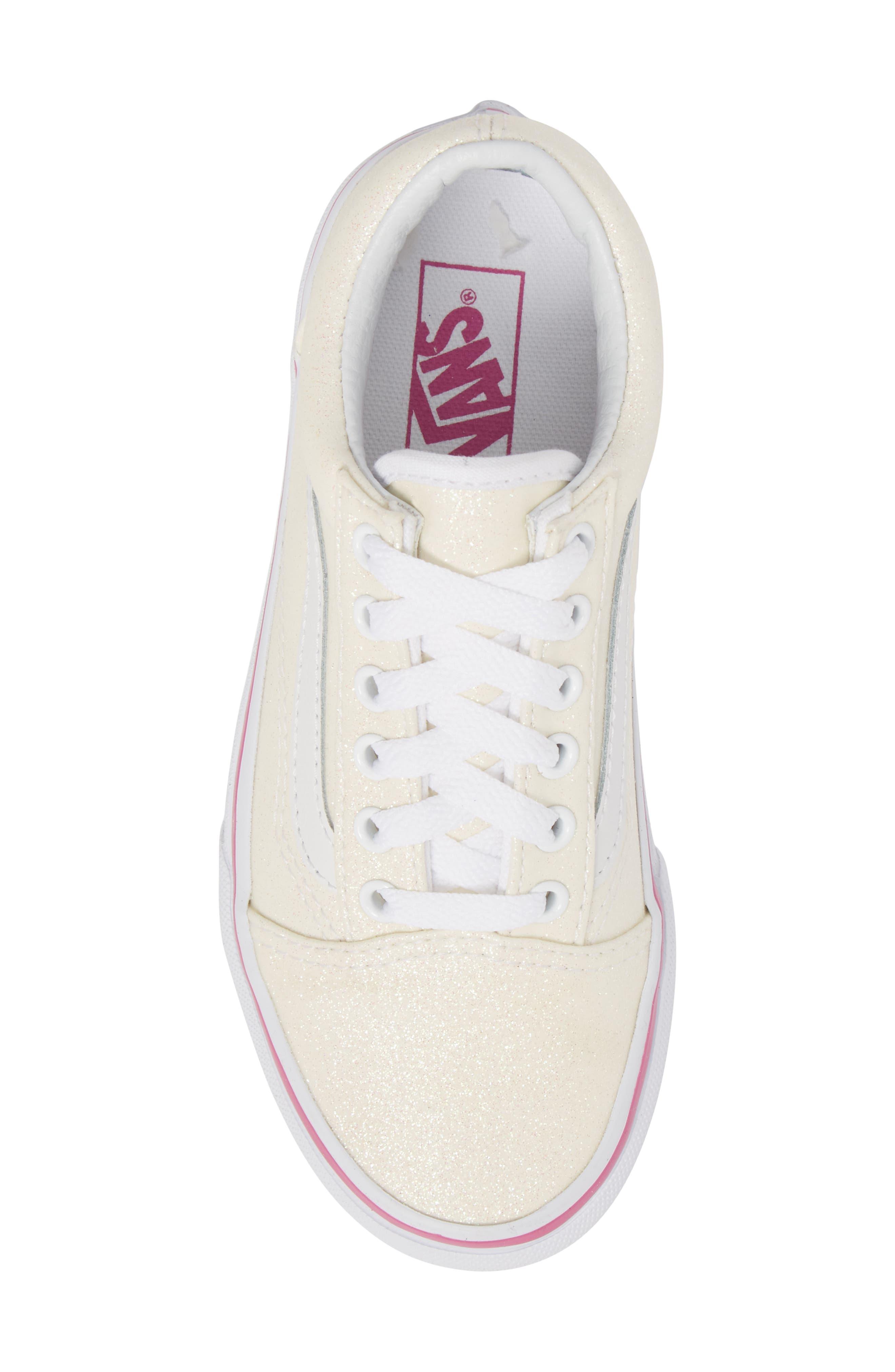 Old Skool Sneaker,                             Alternate thumbnail 5, color,                             Rainbow White Glitter
