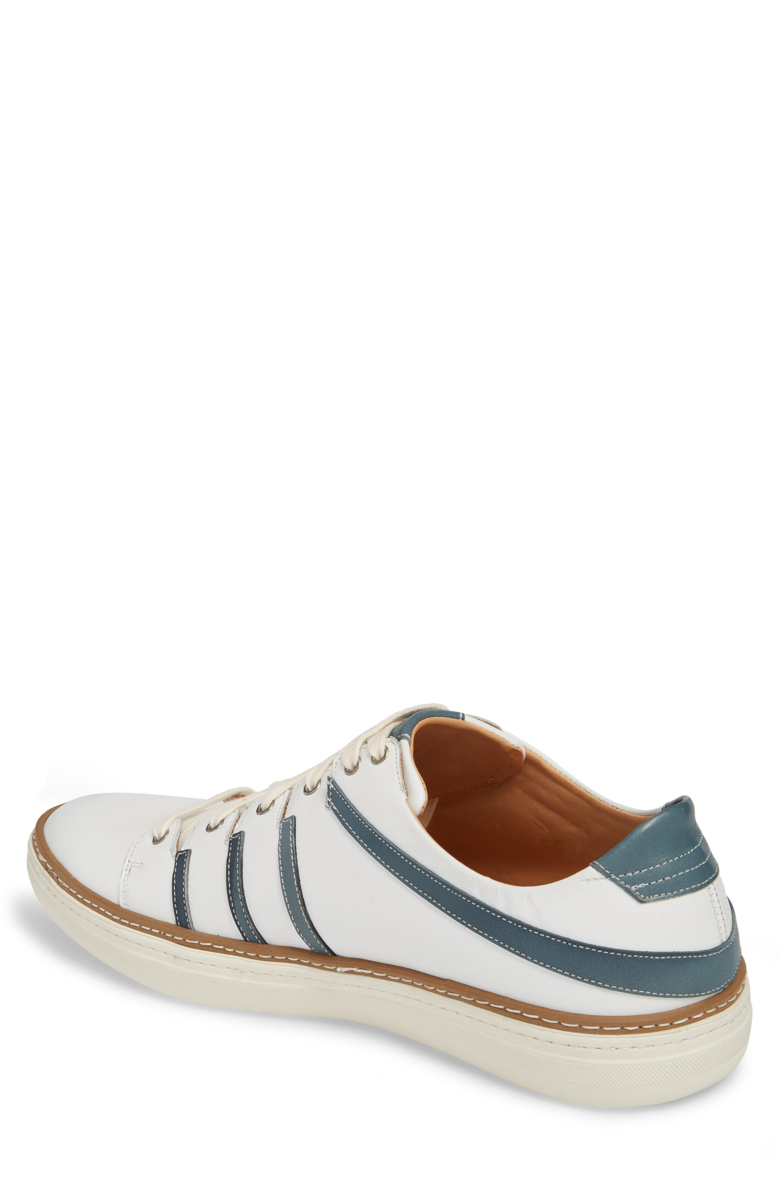 Tebas Striped Low Top Sneaker,                             Alternate thumbnail 2, color,                             White/ Jeans Leather