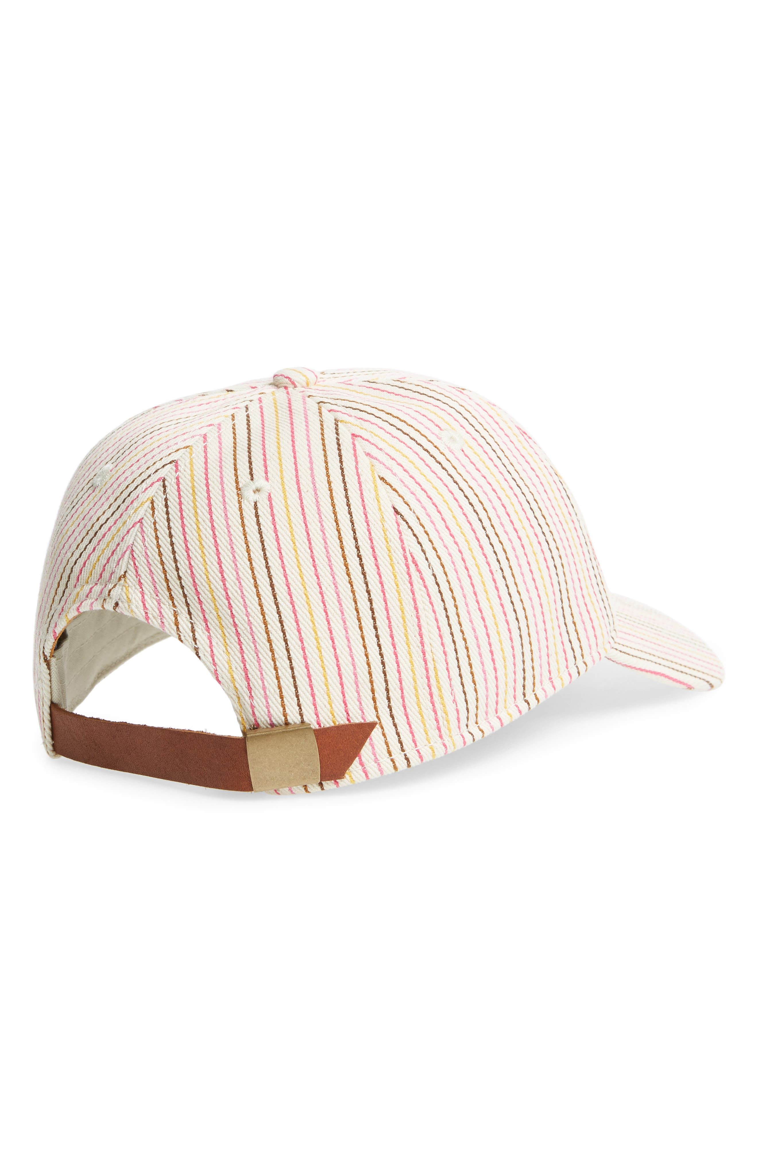Multi Stripe Baseball Cap,                             Alternate thumbnail 2, color,                             Pink Multi Stripe