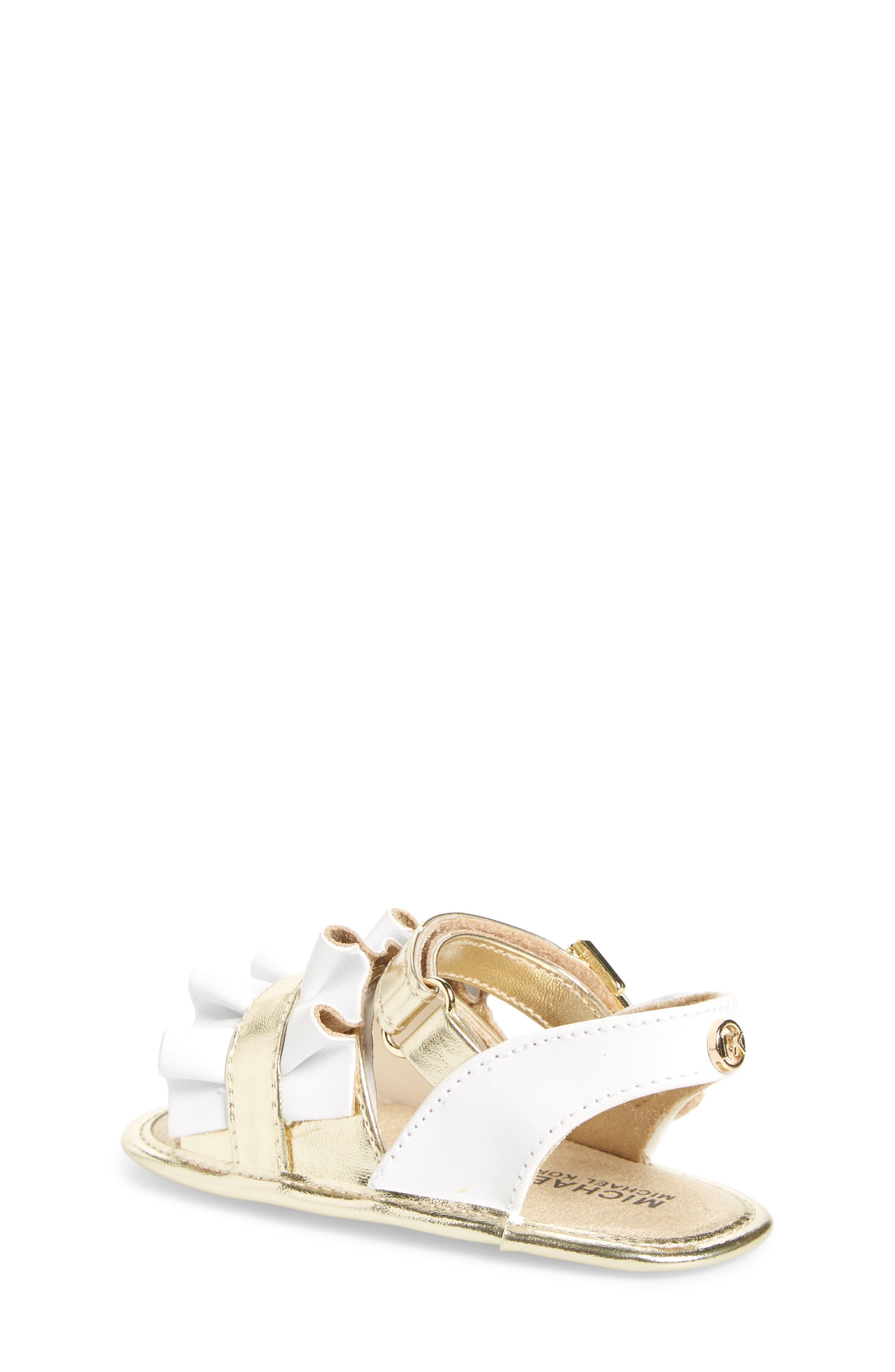 Baby Free Metallic Ruffled Sandal,                             Alternate thumbnail 2, color,                             White Gold