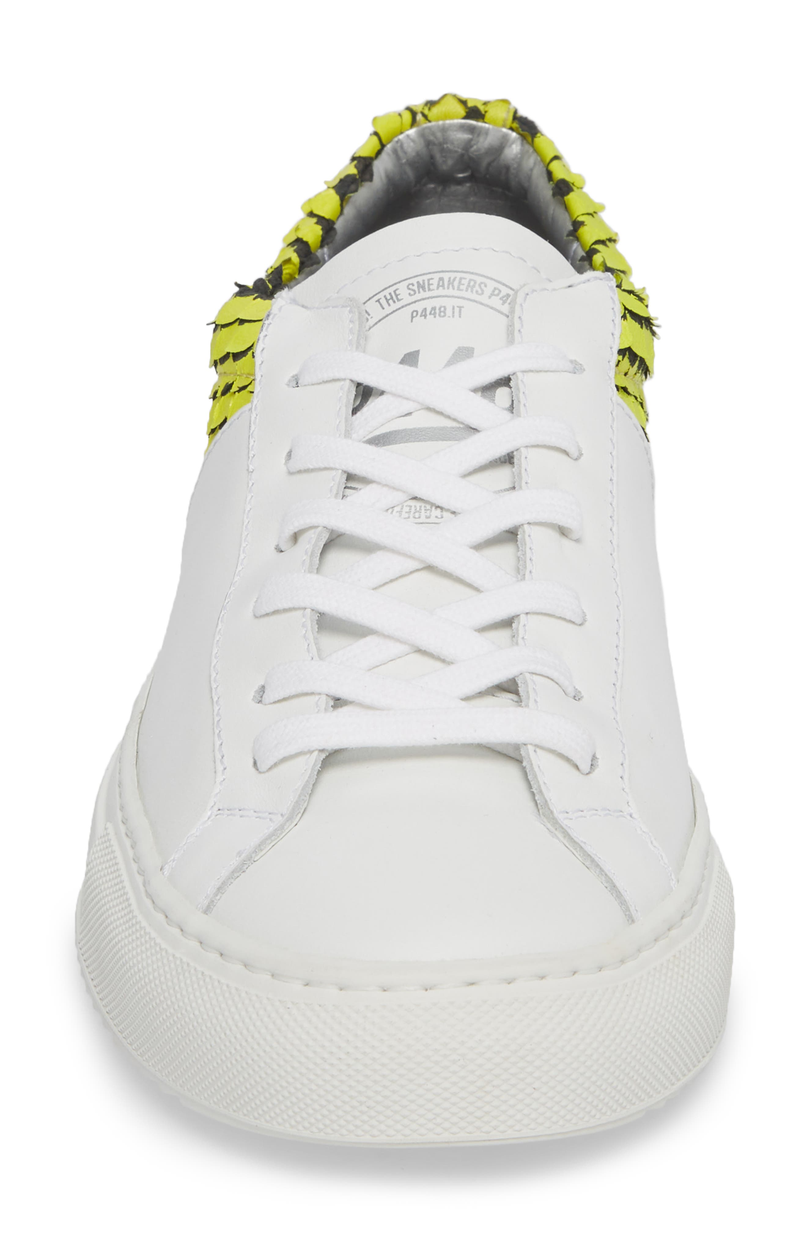 Onec Textured Low Top Sneaker,                             Alternate thumbnail 4, color,                             Python White