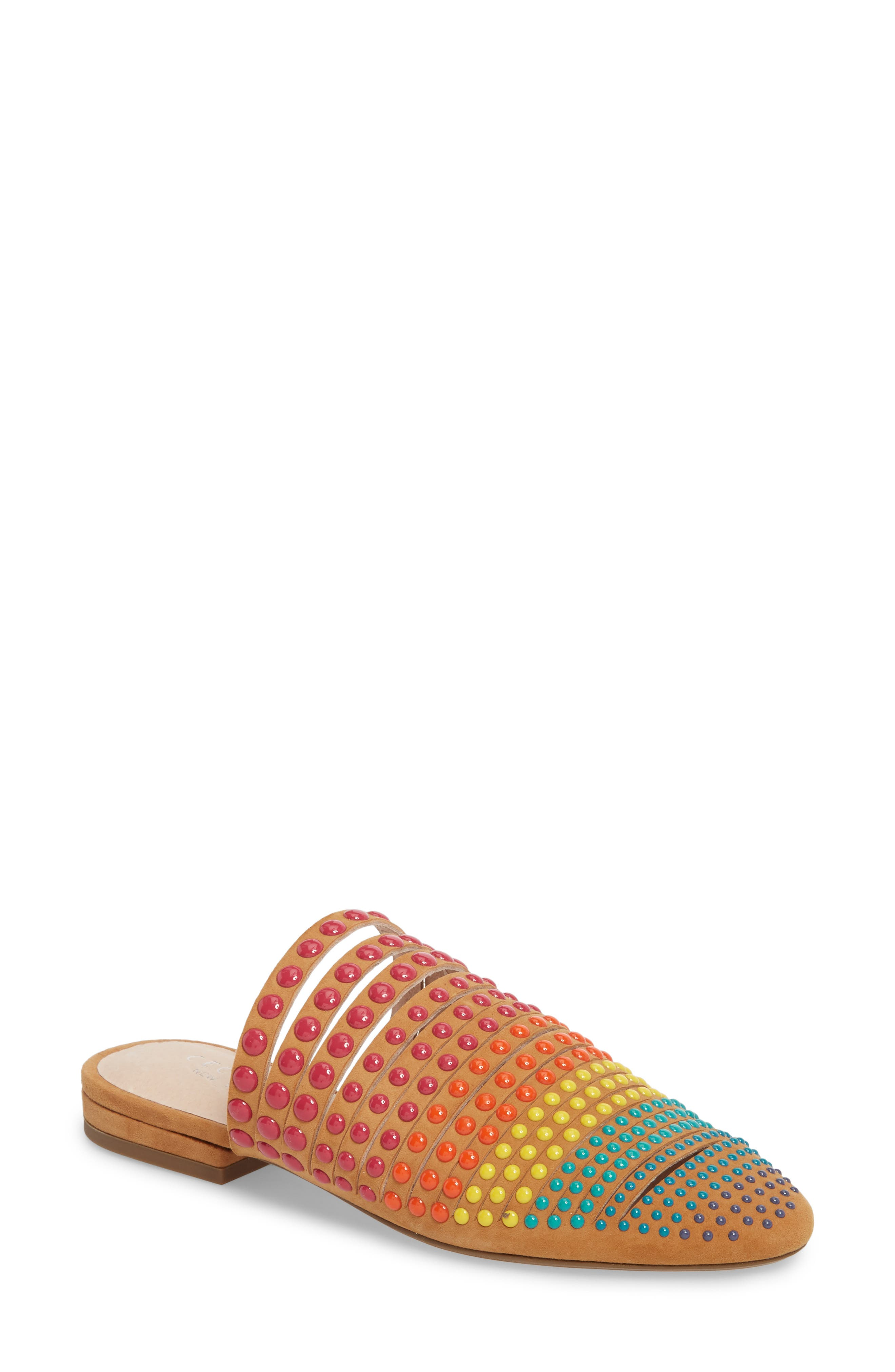 Potz Embellished Slide,                             Main thumbnail 1, color,                             Tan Print Suede
