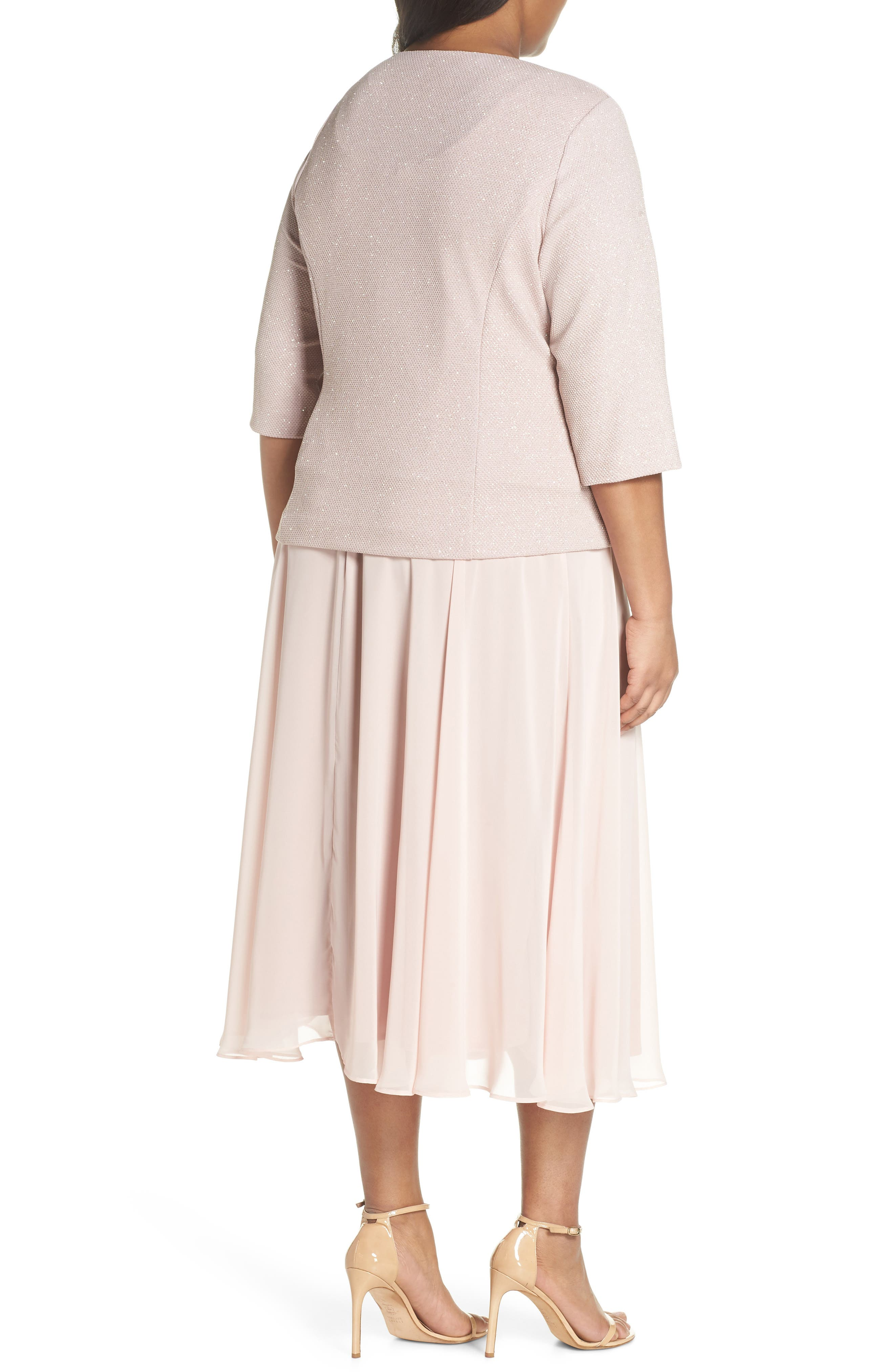 Glitter Tea Length A-Line Dress with Jacket,                             Alternate thumbnail 2, color,                             Pale Blush