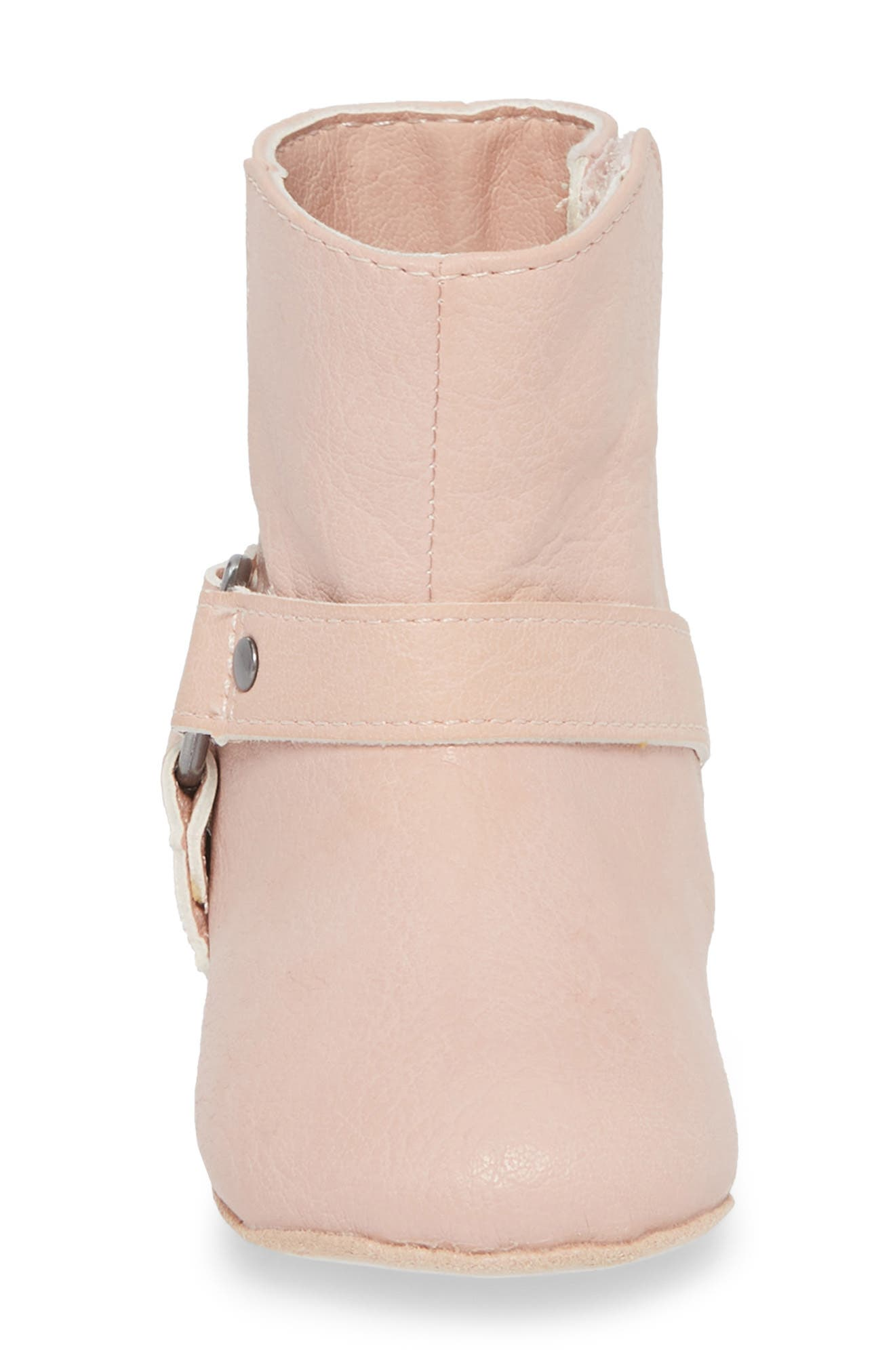Harness Boot Crib Shoe,                             Alternate thumbnail 4, color,                             Baby Pink
