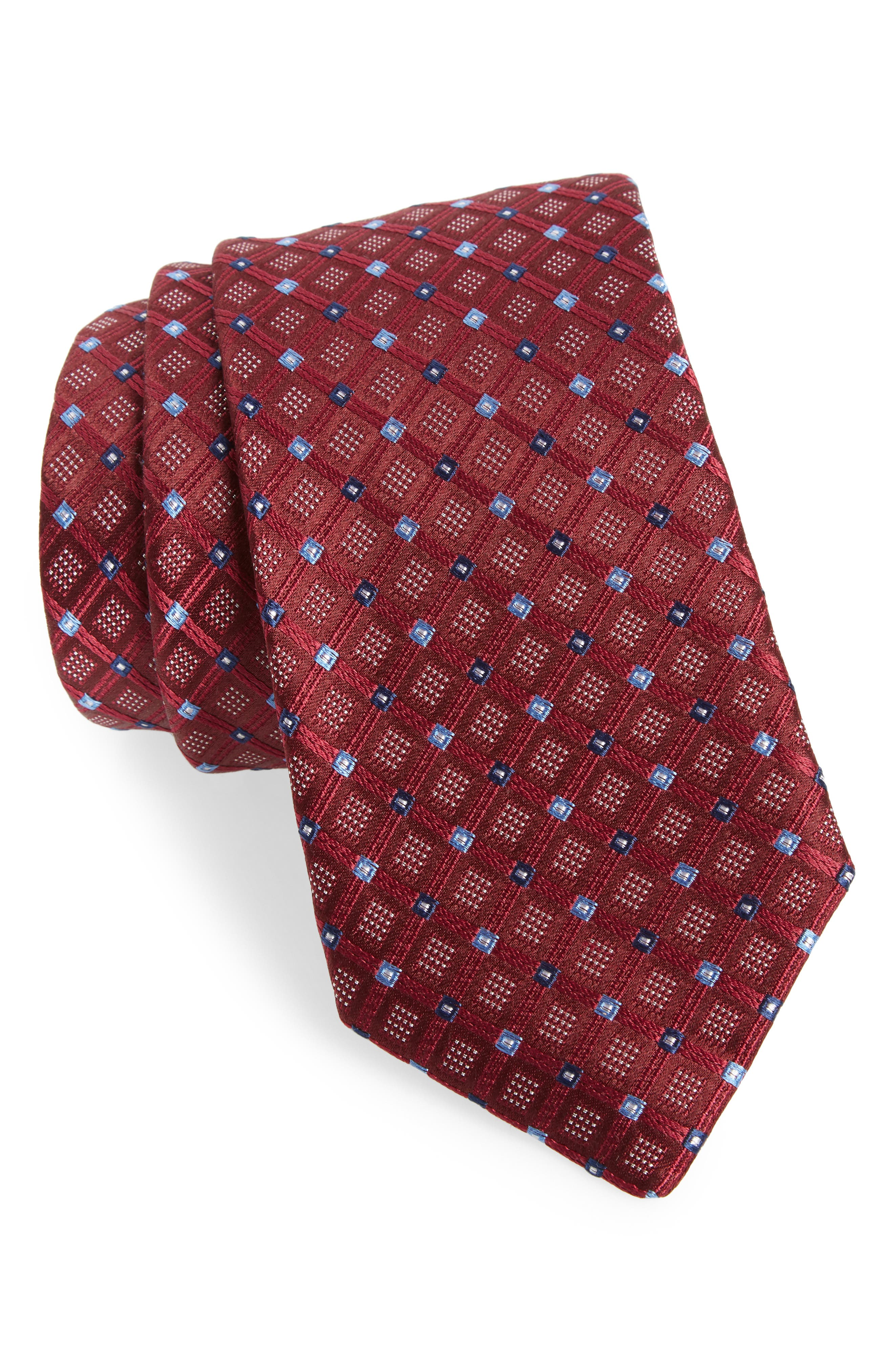 Coventry Check Silk Tie,                             Main thumbnail 1, color,                             Wine