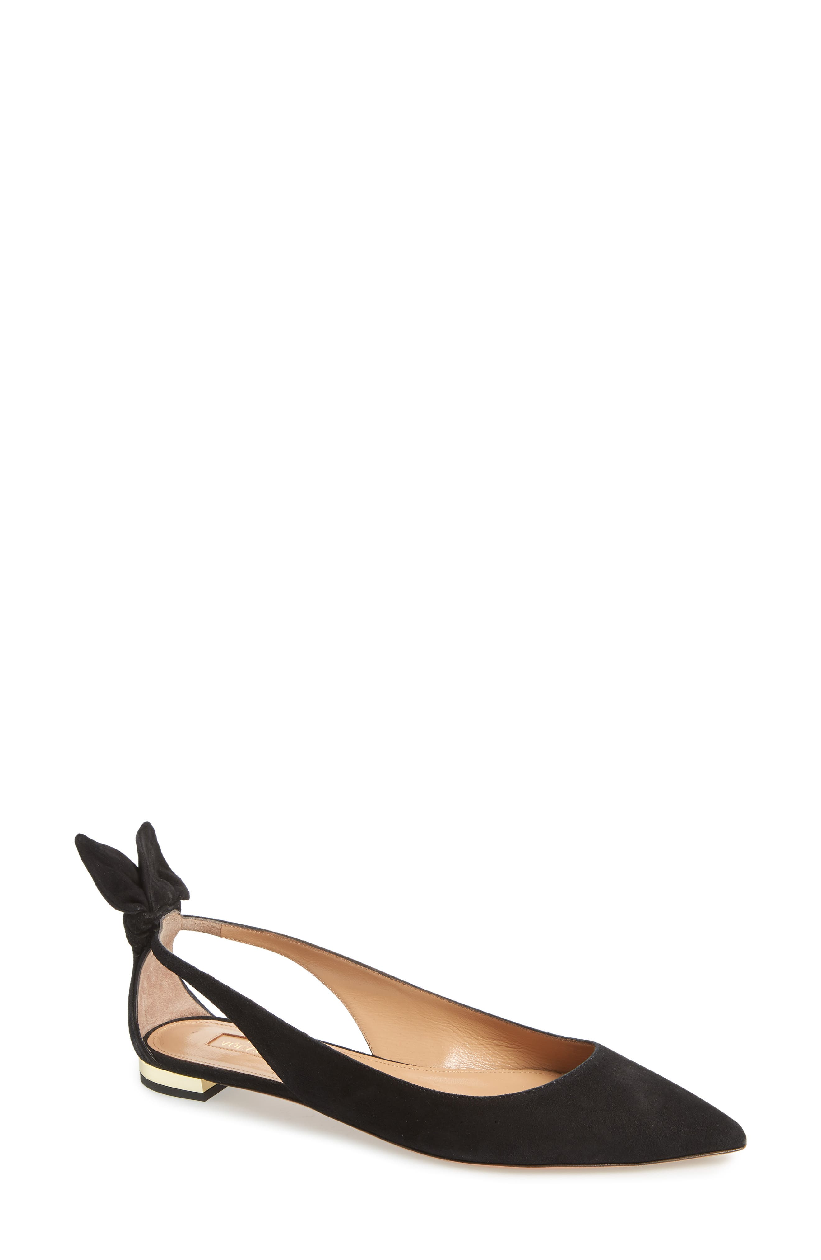 Aquazzura Deneuve Bow Pointy Toe Flat (Women)