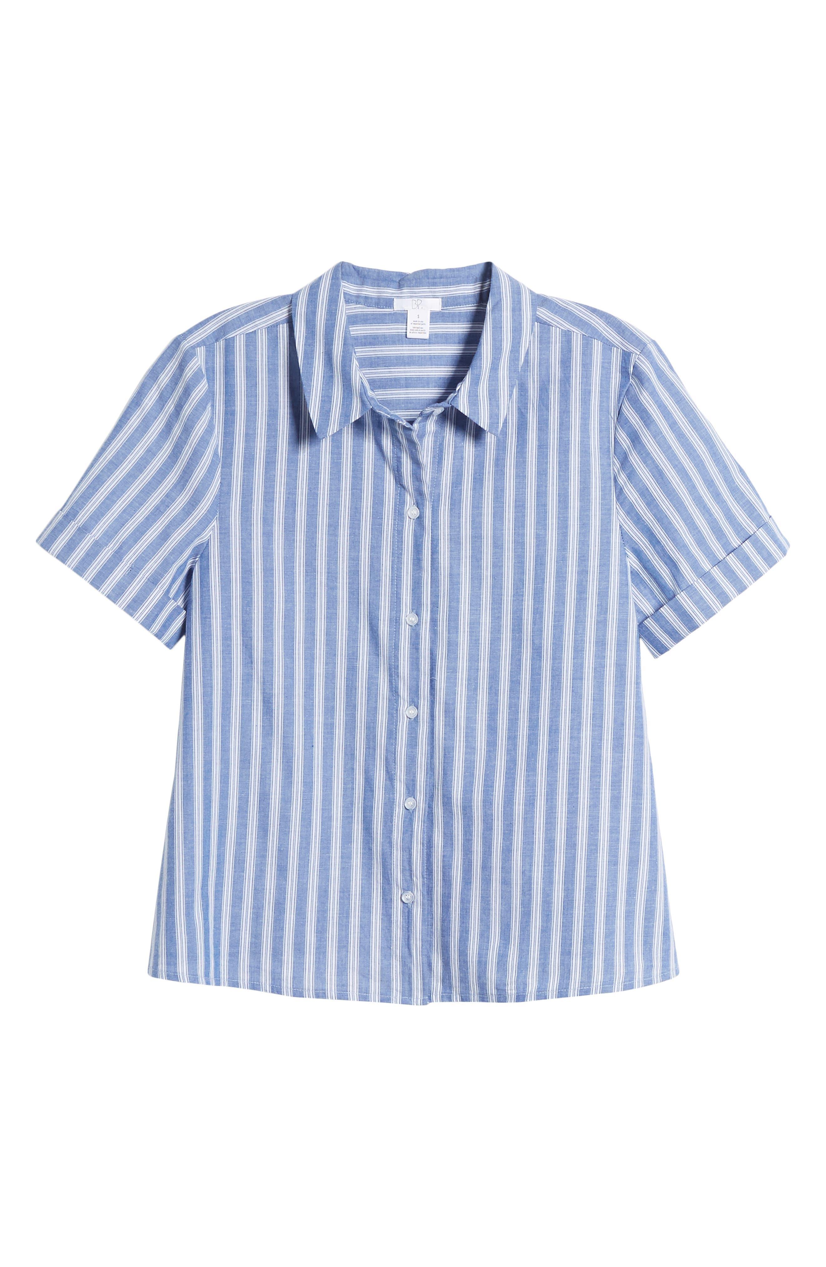 Stripe Tie Hem Top,                             Alternate thumbnail 7, color,                             Blue Celestial Stripe