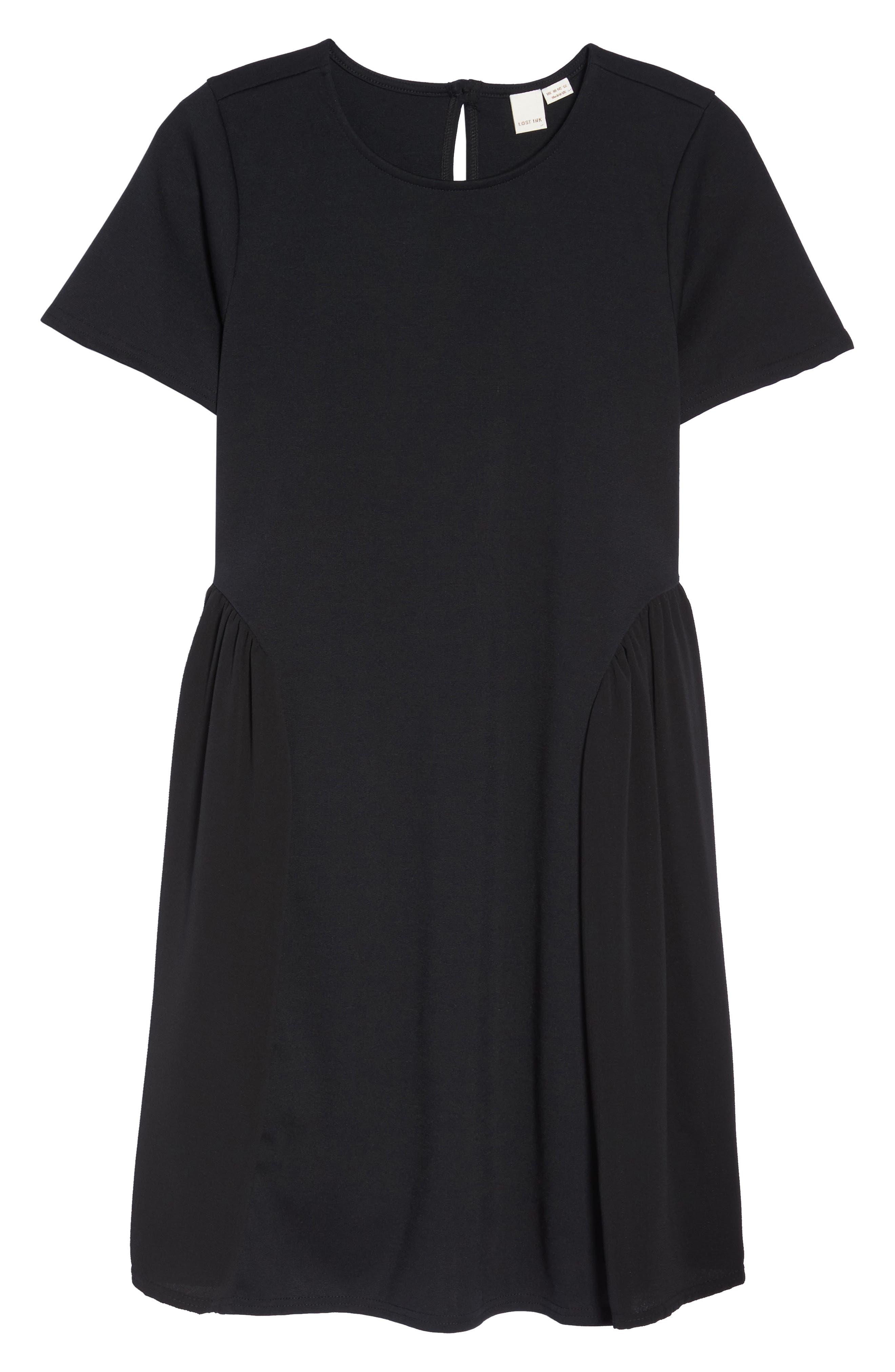 Crepe Chiffon Swing Dress,                             Alternate thumbnail 6, color,                             Black