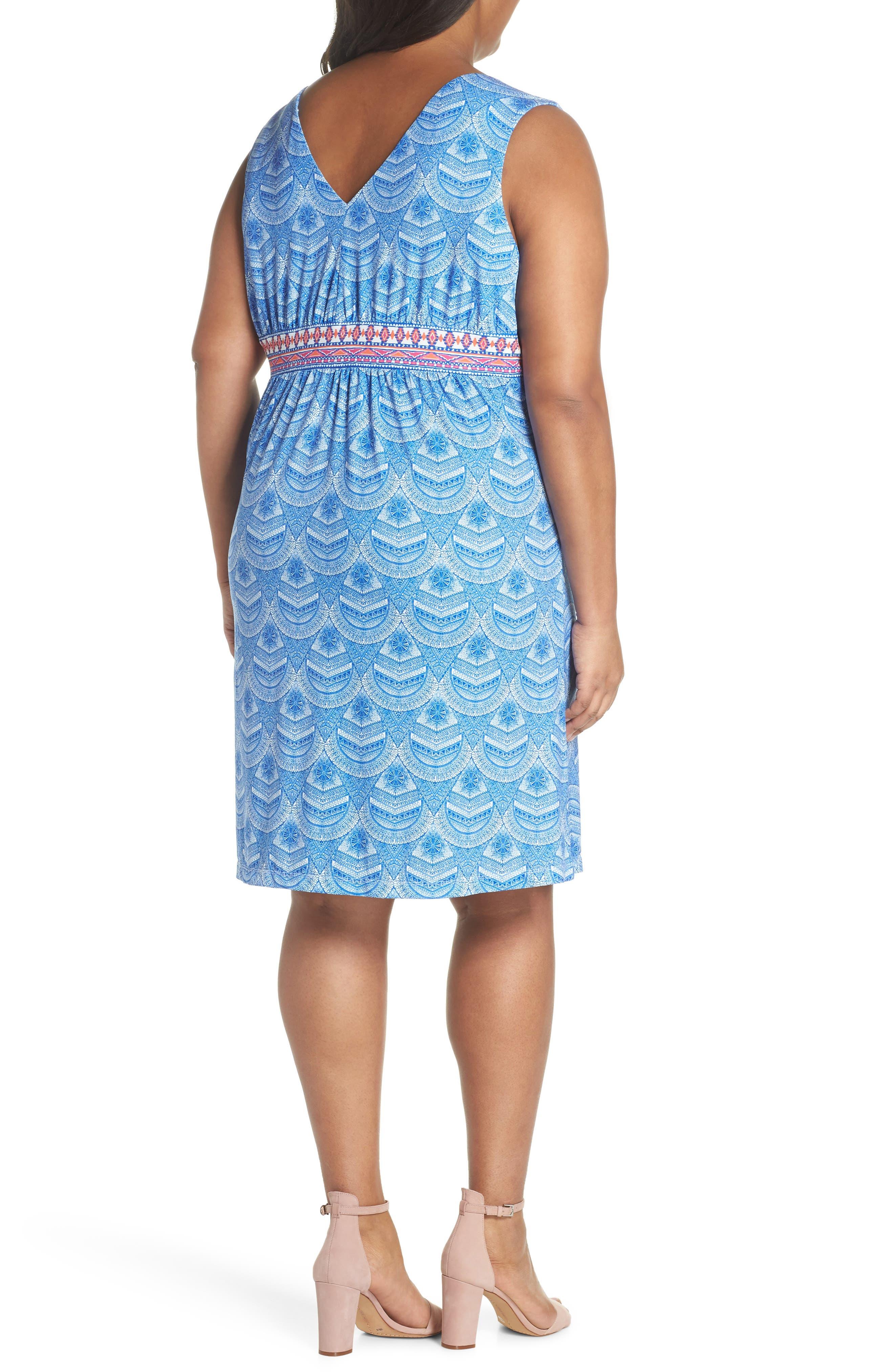 Rosine Print A-Line Dress,                             Alternate thumbnail 2, color,                             Lapis Blue