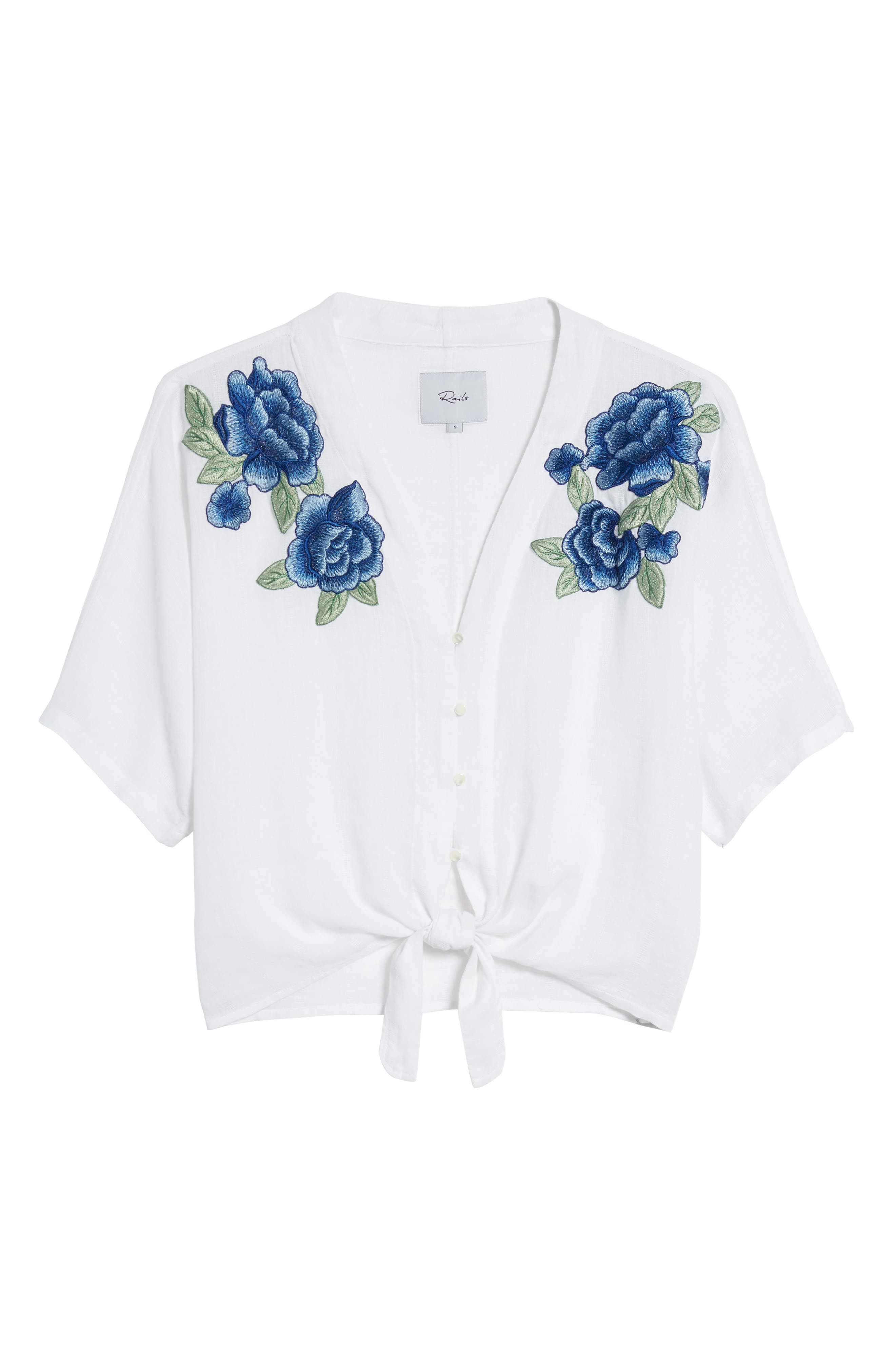 Thea Embroidered Tie Front Crop Top,                             Alternate thumbnail 7, color,                             Blue Rose Embroidery