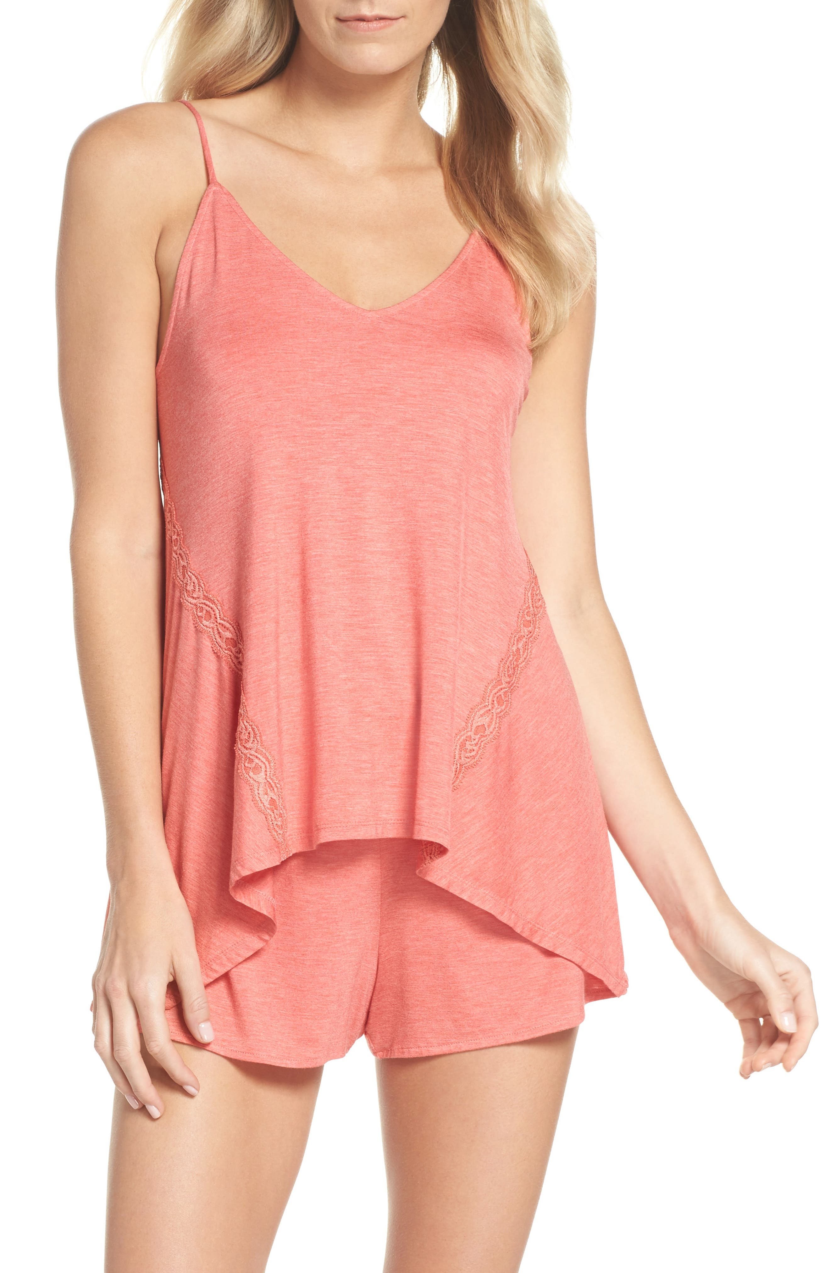 Feathers Essential Camisole,                             Main thumbnail 1, color,                             Coral
