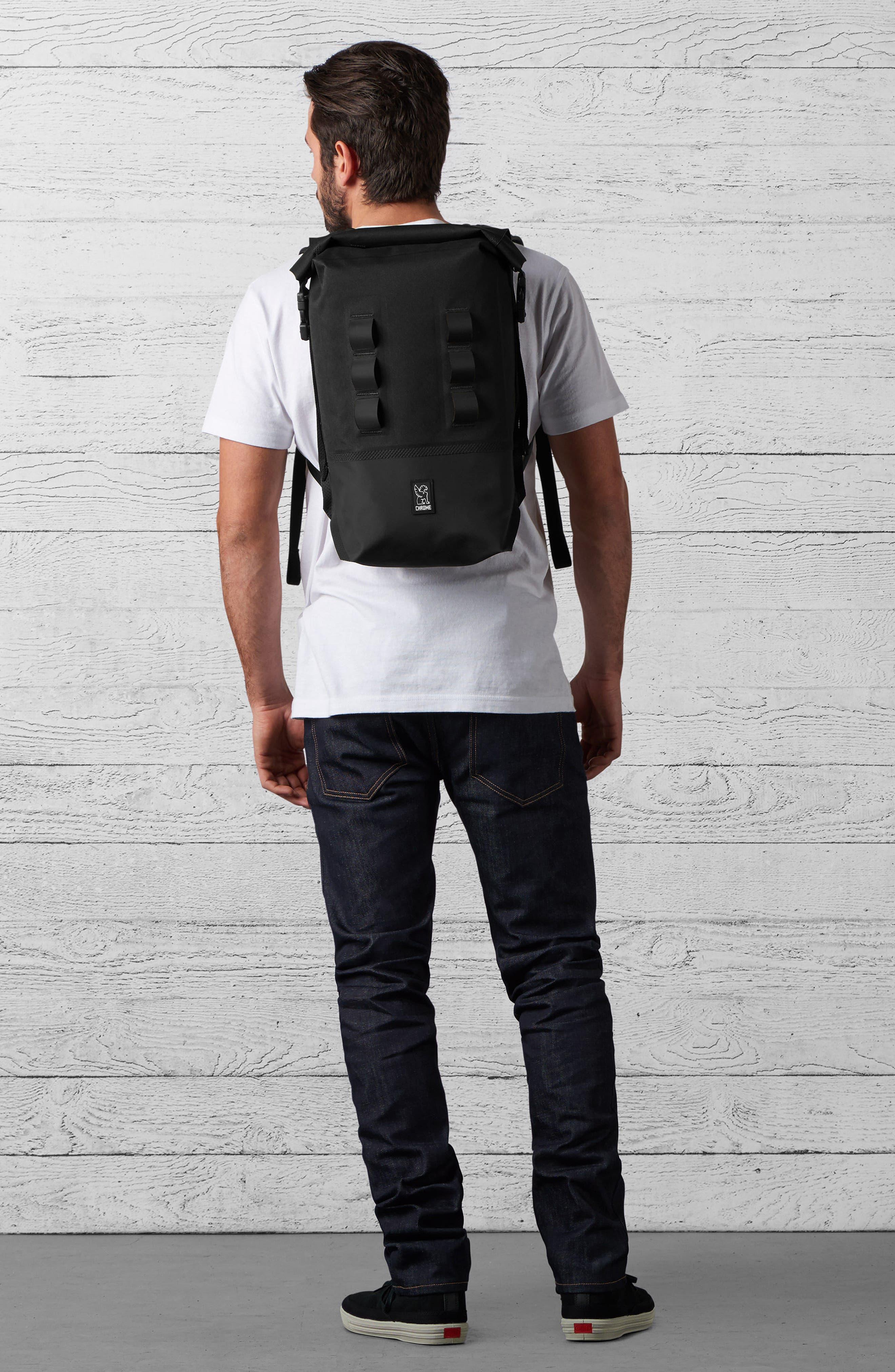 Urban Ex Rolltop Waterproof Backpack,                             Alternate thumbnail 7, color,                             Black/ Black