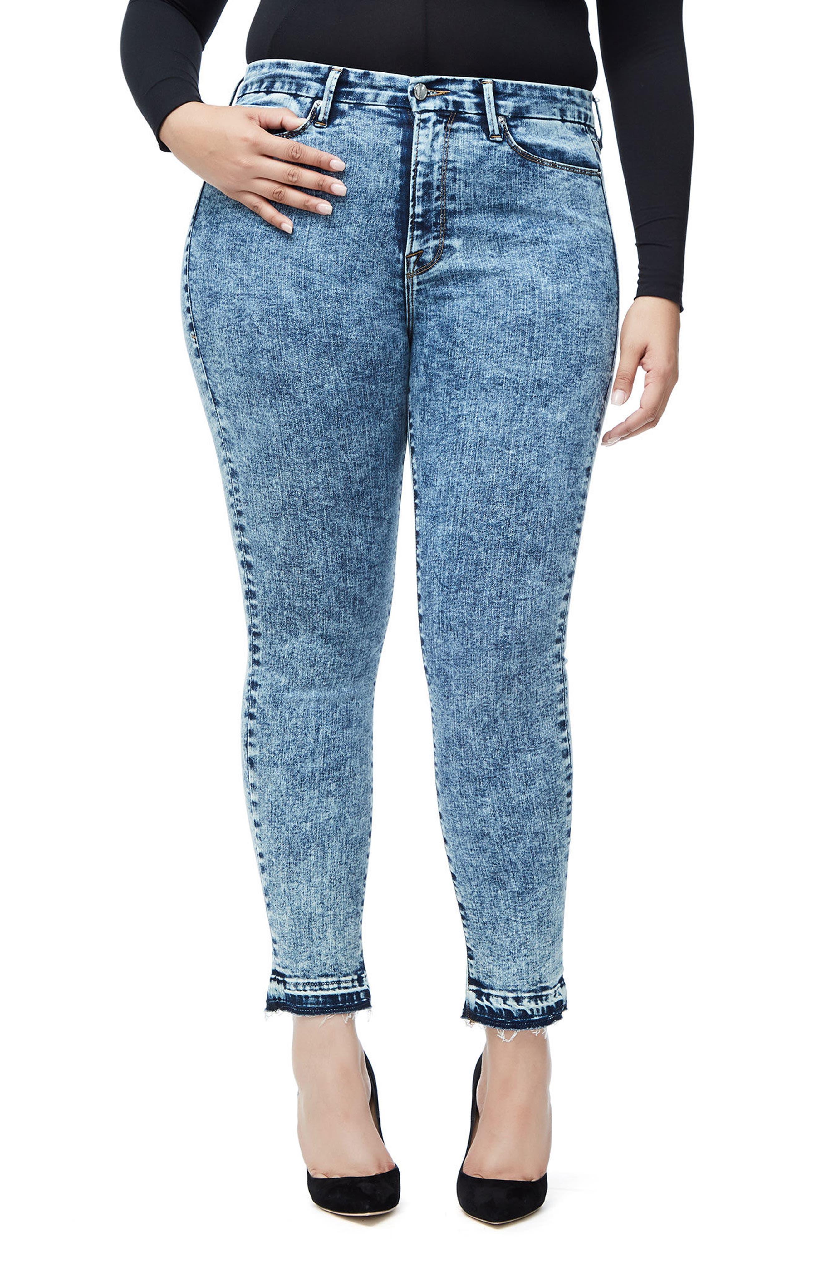 Good Waist Acid Wash Crop Skinny Jeans,                             Alternate thumbnail 4, color,                             Blue145