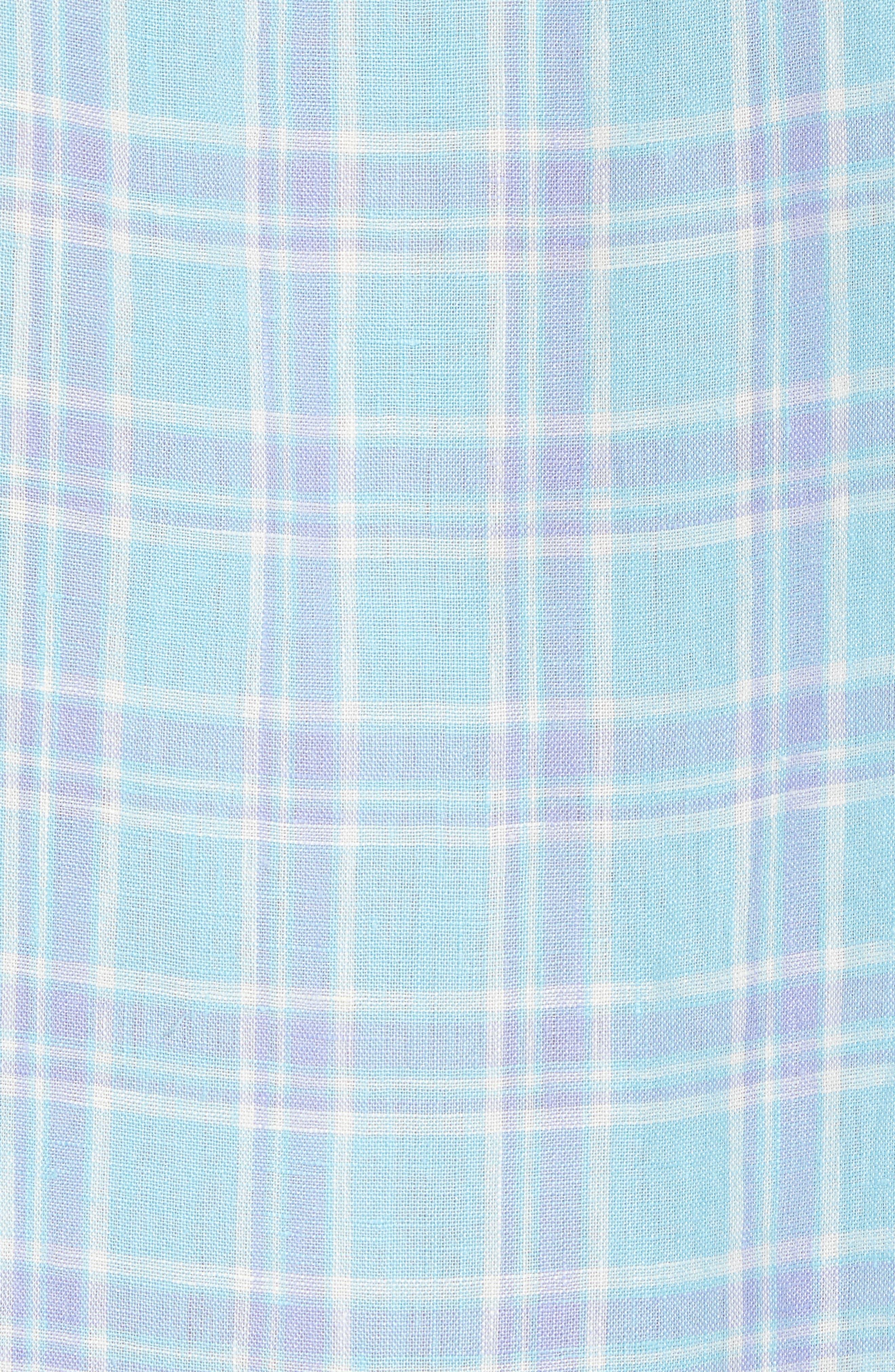 Ventura Plaid Linen Sport Shirt,                             Alternate thumbnail 5, color,                             Teal Purple Plaid