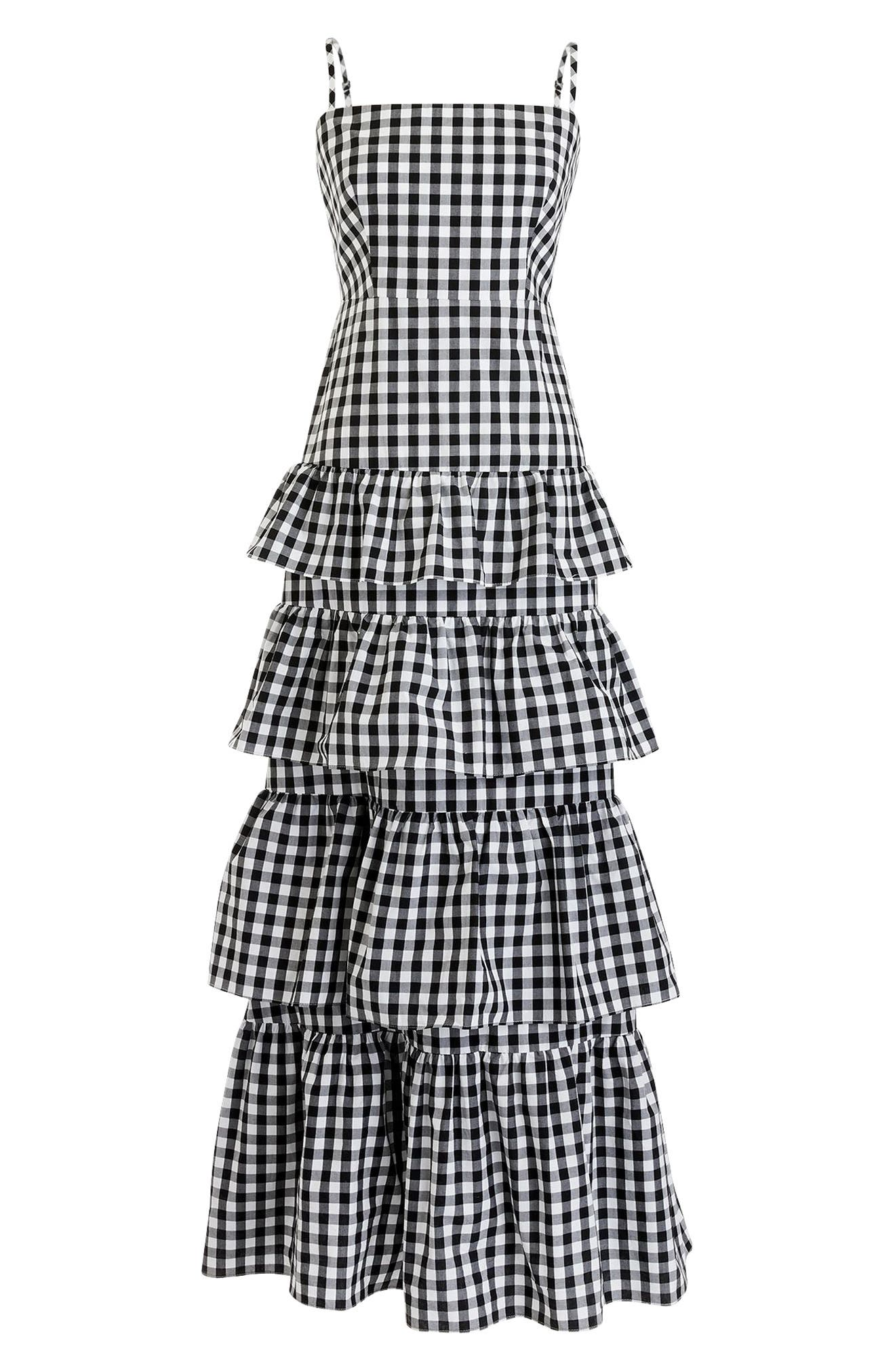 Tiered Gingham Dress,                             Alternate thumbnail 4, color,                             Black