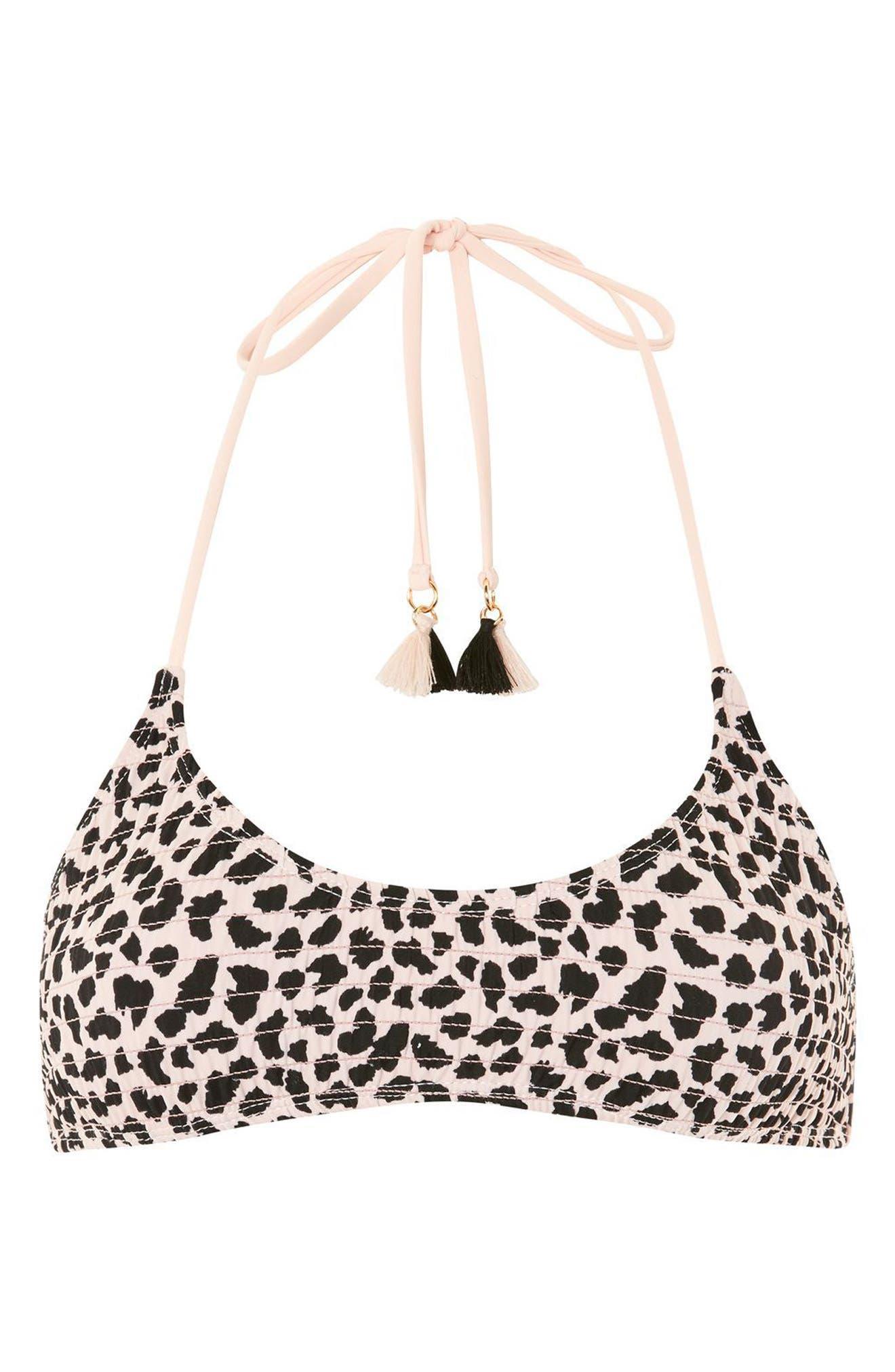 Leopard Shirred Bikini Top,                             Alternate thumbnail 3, color,                             Blush Multi