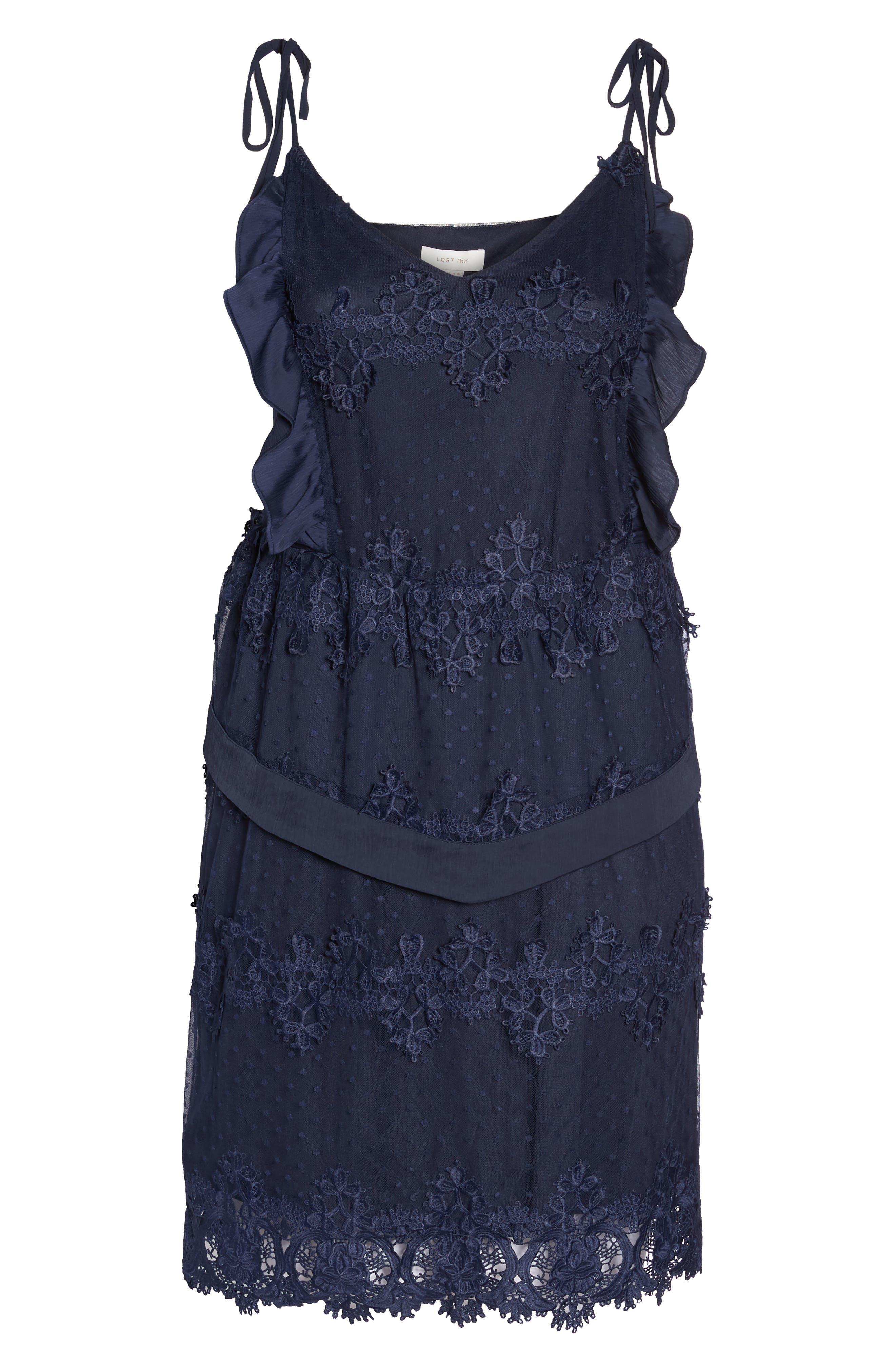 Lace Swiss Dot Swing Dress,                             Alternate thumbnail 7, color,                             Navy
