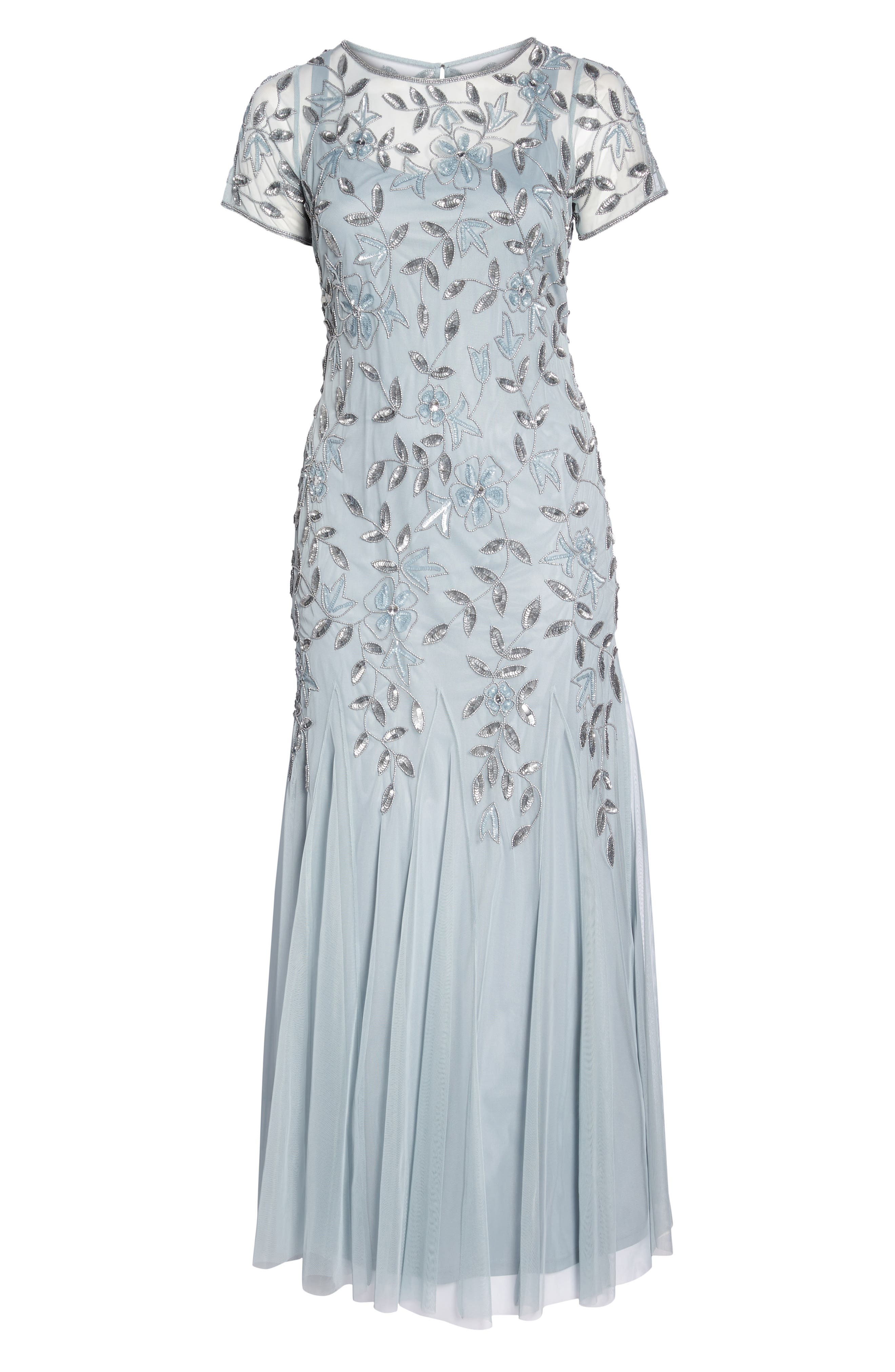 Floral Beaded Godet Gown,                             Alternate thumbnail 6, color,                             Blue Heather