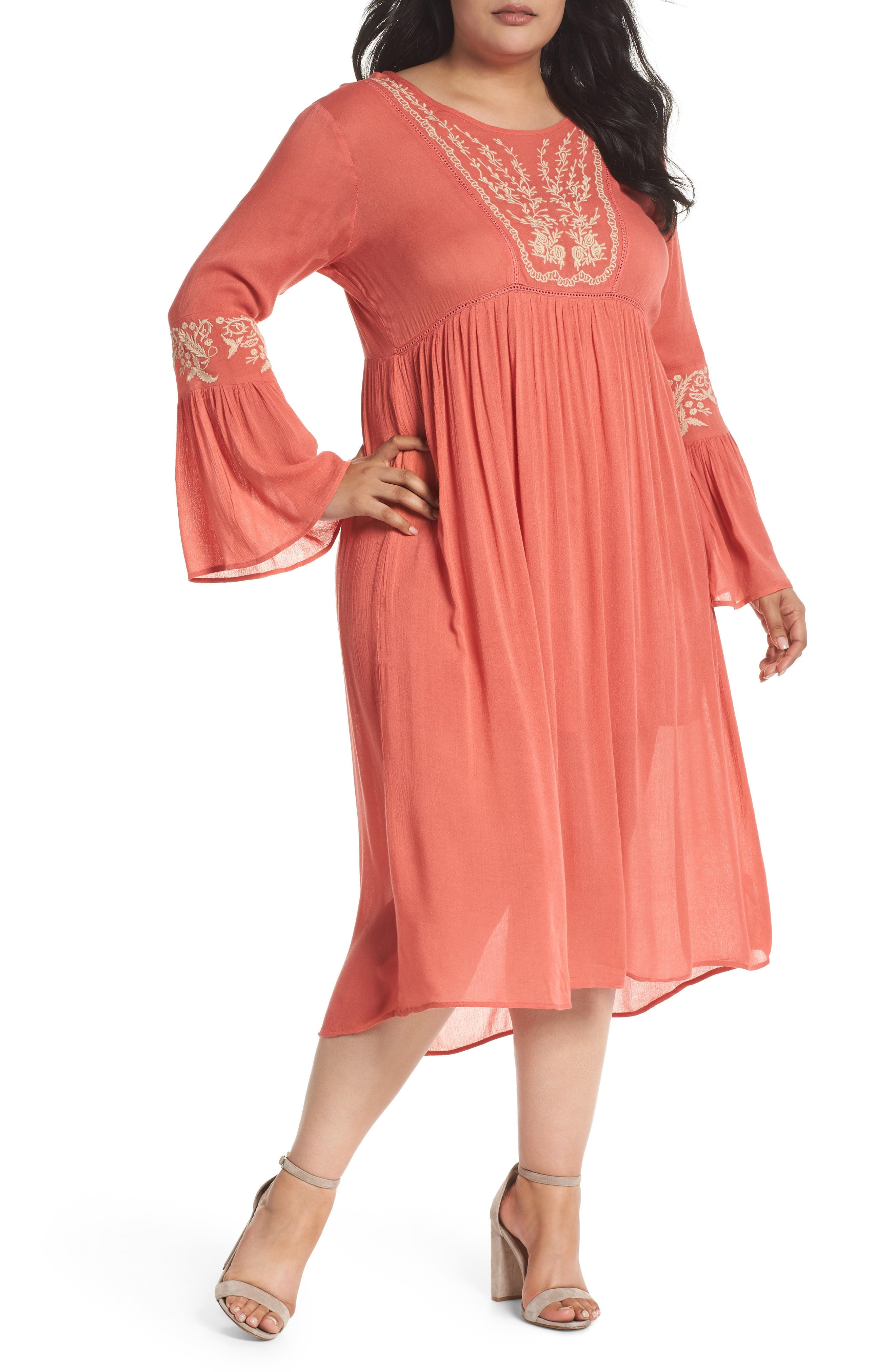 Embroidered Bell Sleeve Midi Dress,                         Main,                         color, Coral