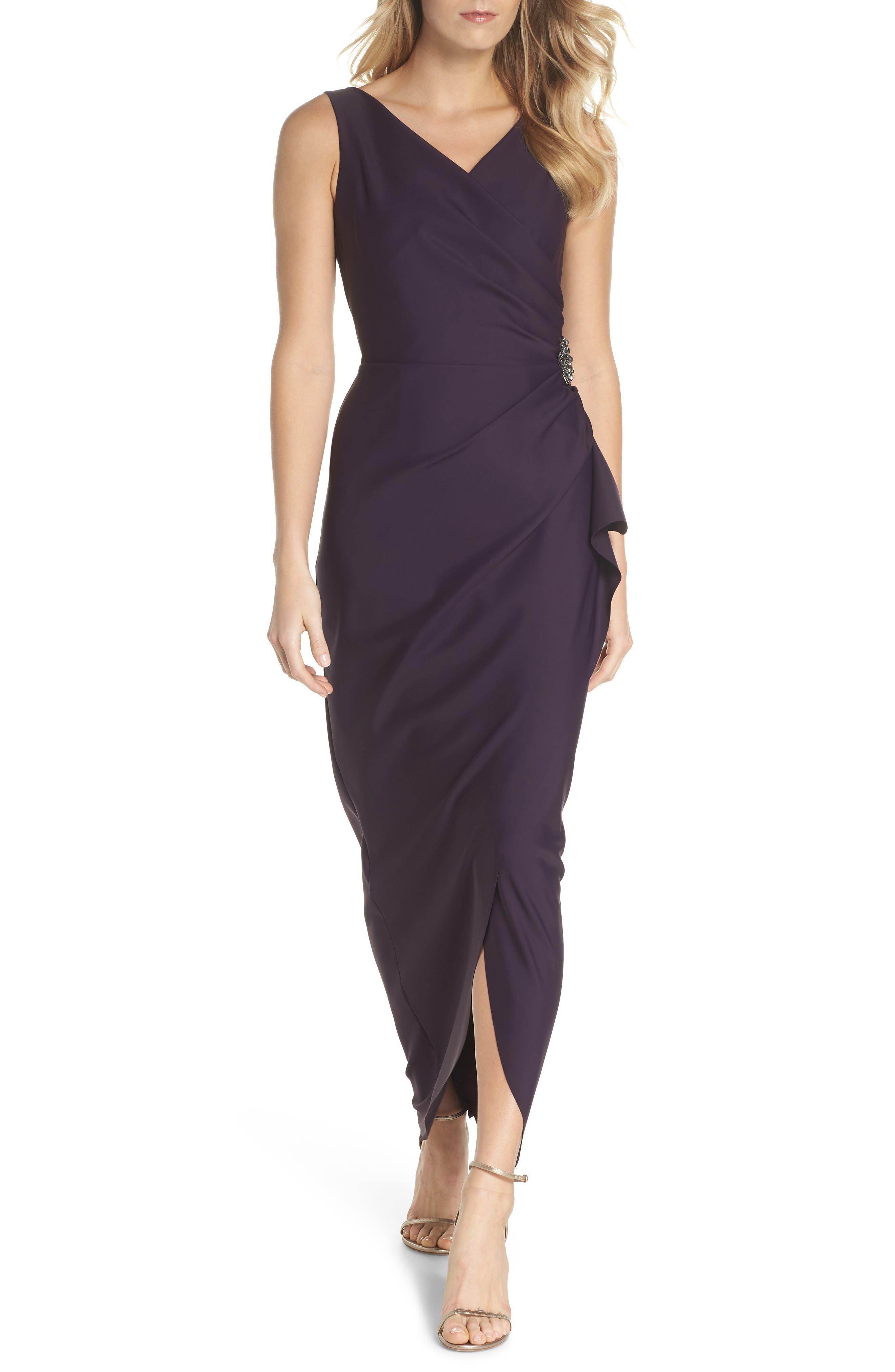 Embellished Side Drape Column Gown,                         Main,                         color, Aubergine