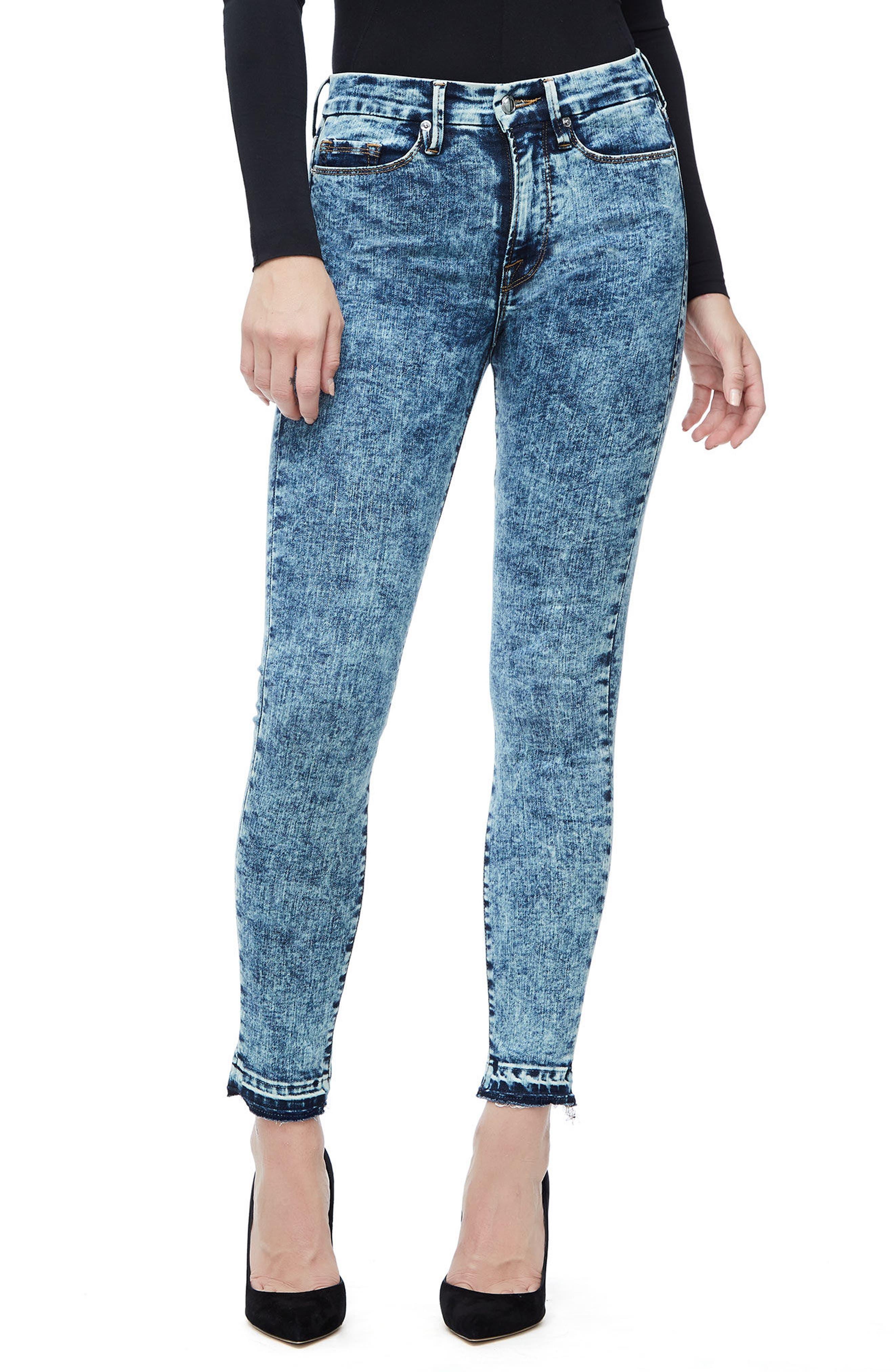 Good American Good Waist Acid Wash Crop Skinny Jeans (Blue 145) (Regular & Plus Size)